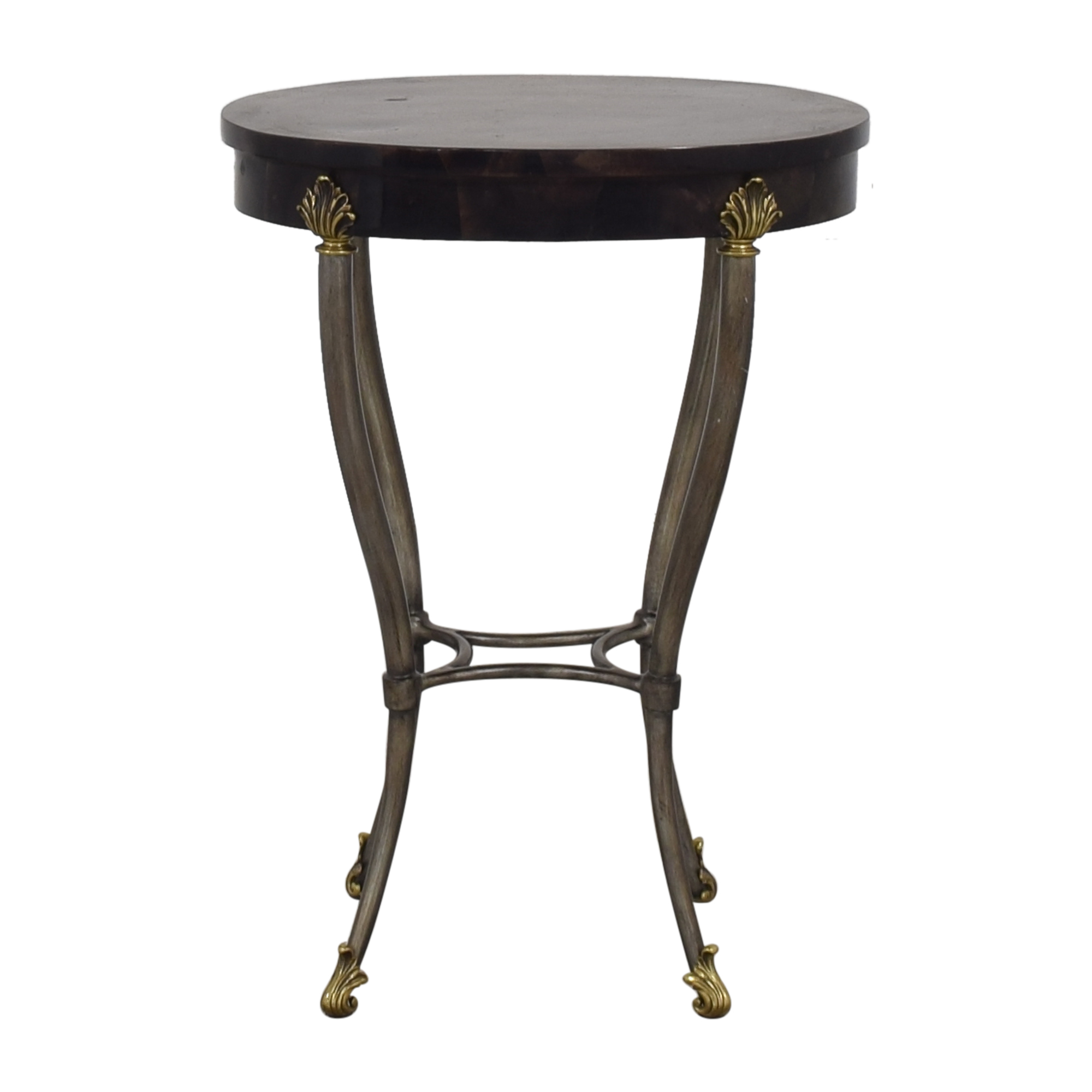 buy Ethan Allen Regency Style Faux Tessellated Horn Oval Side Table Ethan Allen Accent Tables