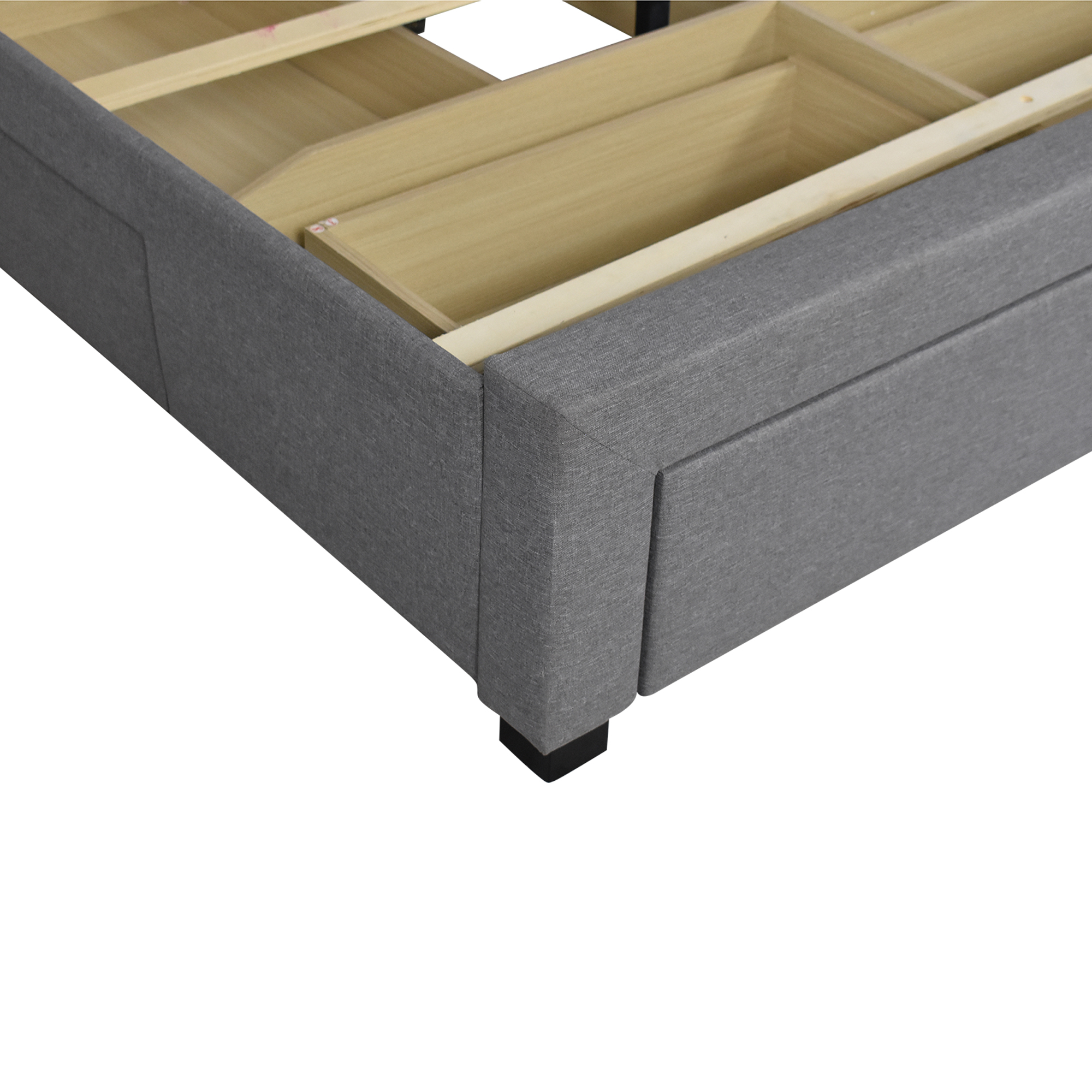 Strick & Bolton Strick & Bolton Roth Grey Linen Wingback Storage Bed used