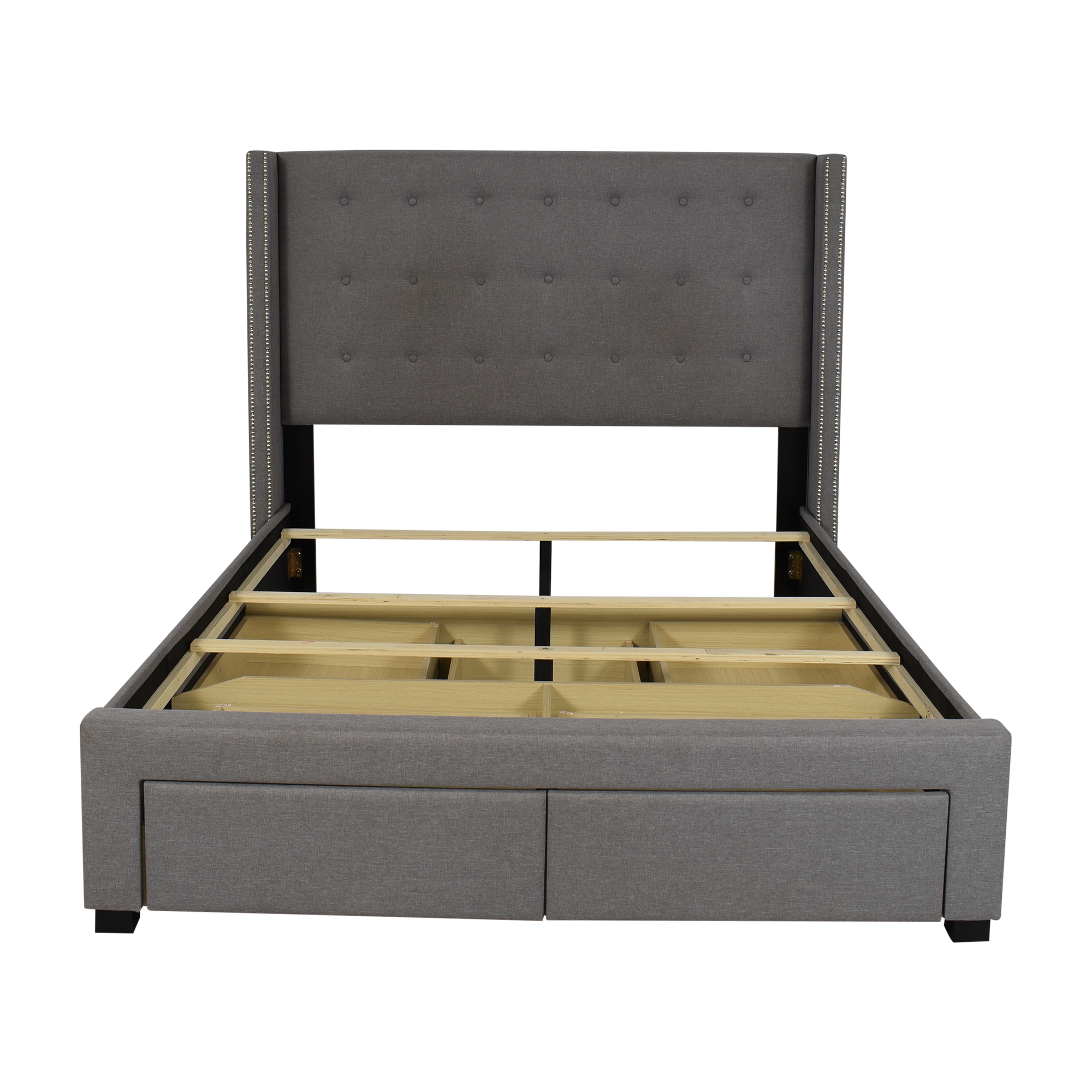 Strick & Bolton Strick & Bolton Roth Grey Linen Wingback Storage Bed Bed Frames