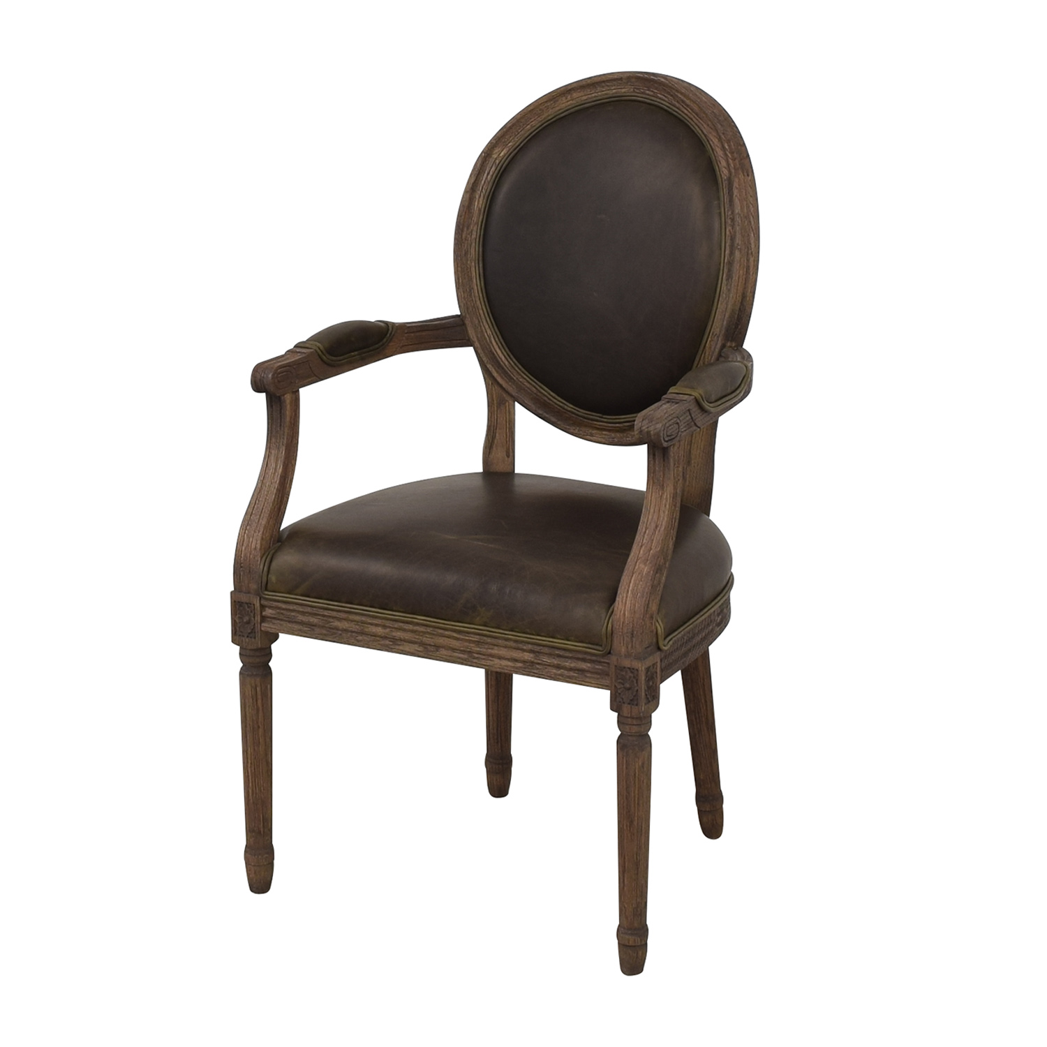 Restoration Hardware Restoration Hardware Vintage French Round Leather Armchairs second hand