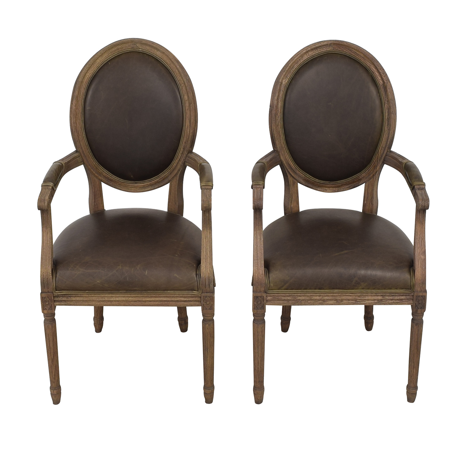 buy Restoration Hardware Restoration Hardware Vintage French Round Leather Armchairs online