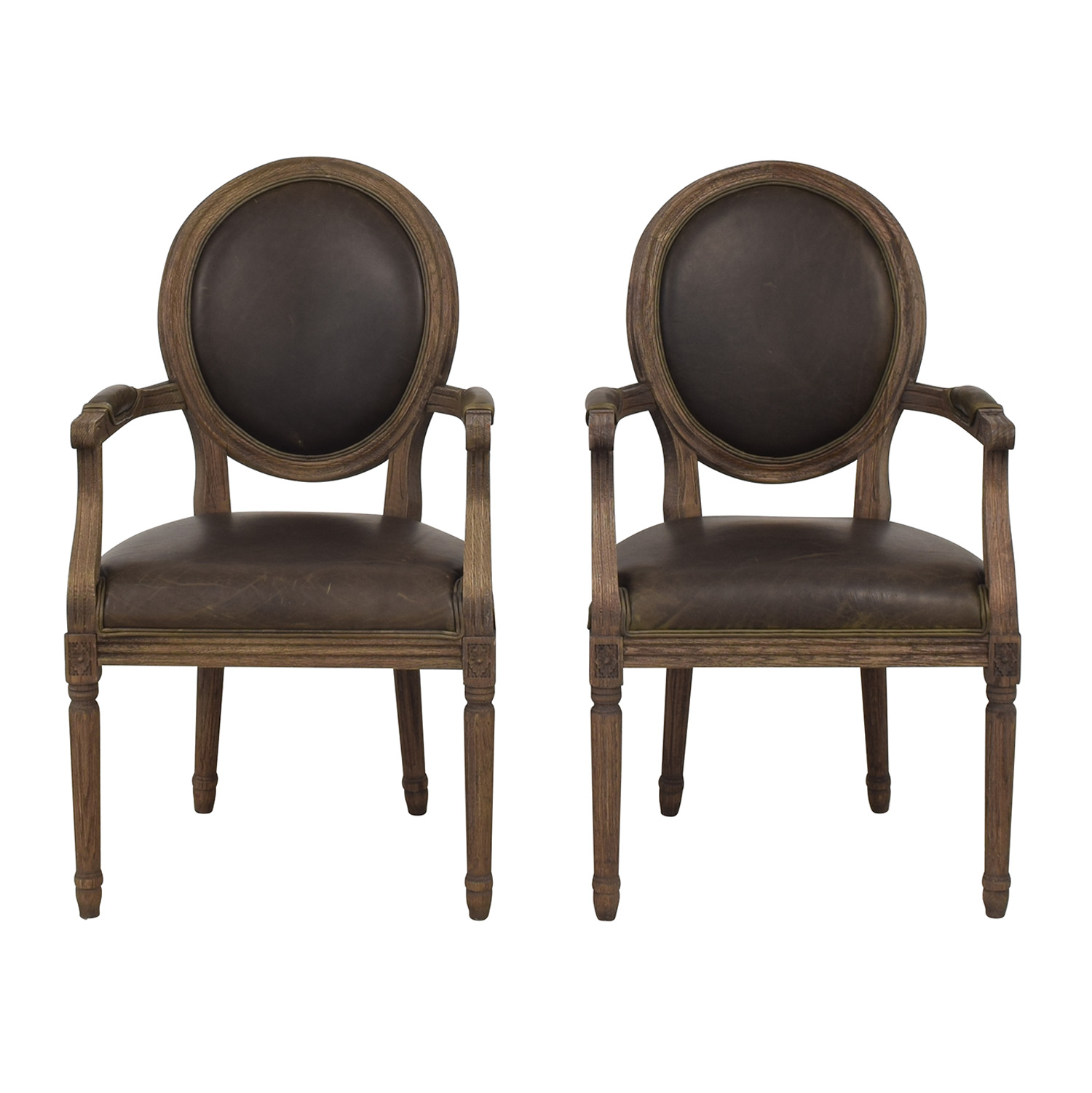 shop Restoration Hardware Vintage French Round Leather Armchairs Restoration Hardware