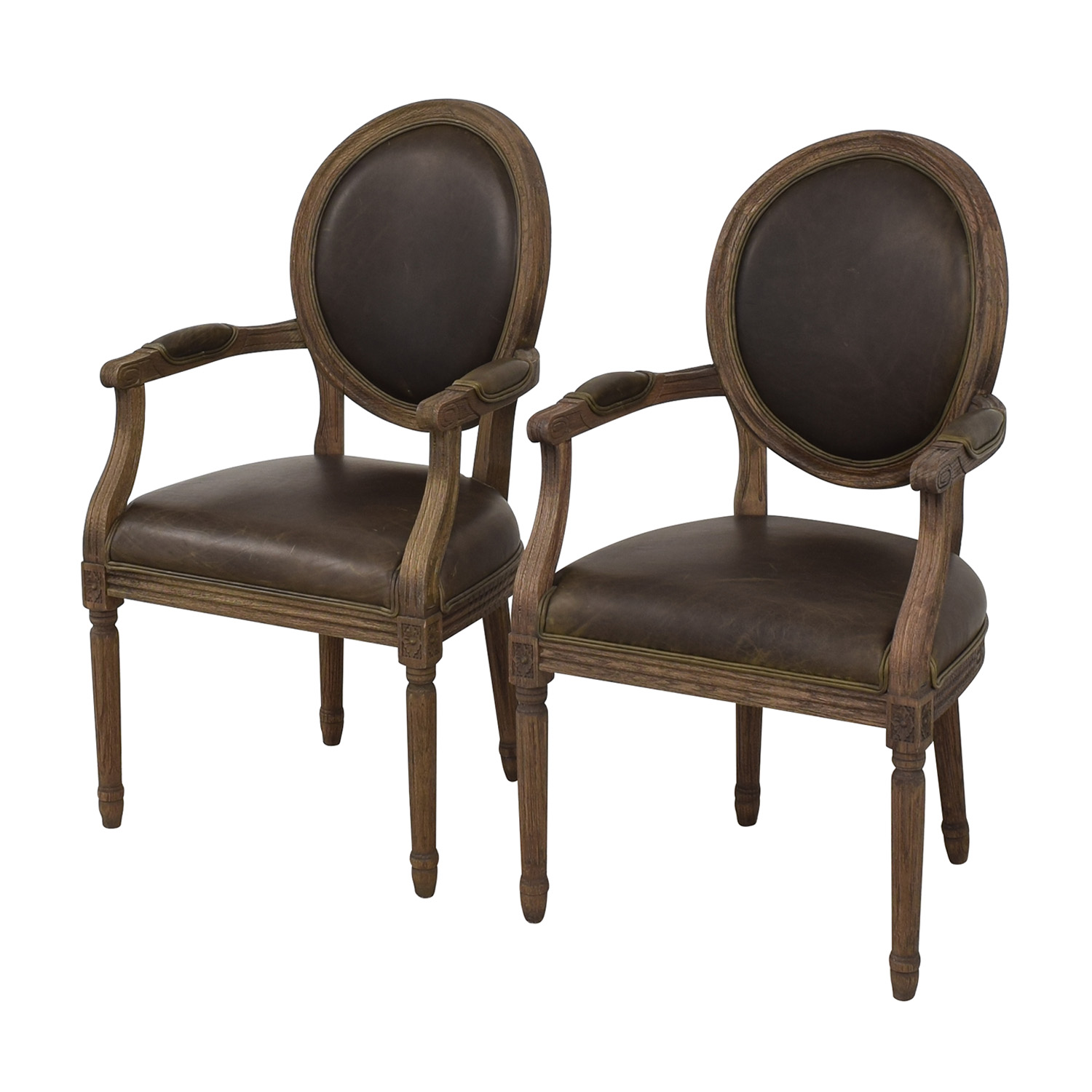 Restoration Hardware Restoration Hardware Vintage French Round Leather Armchairs for sale