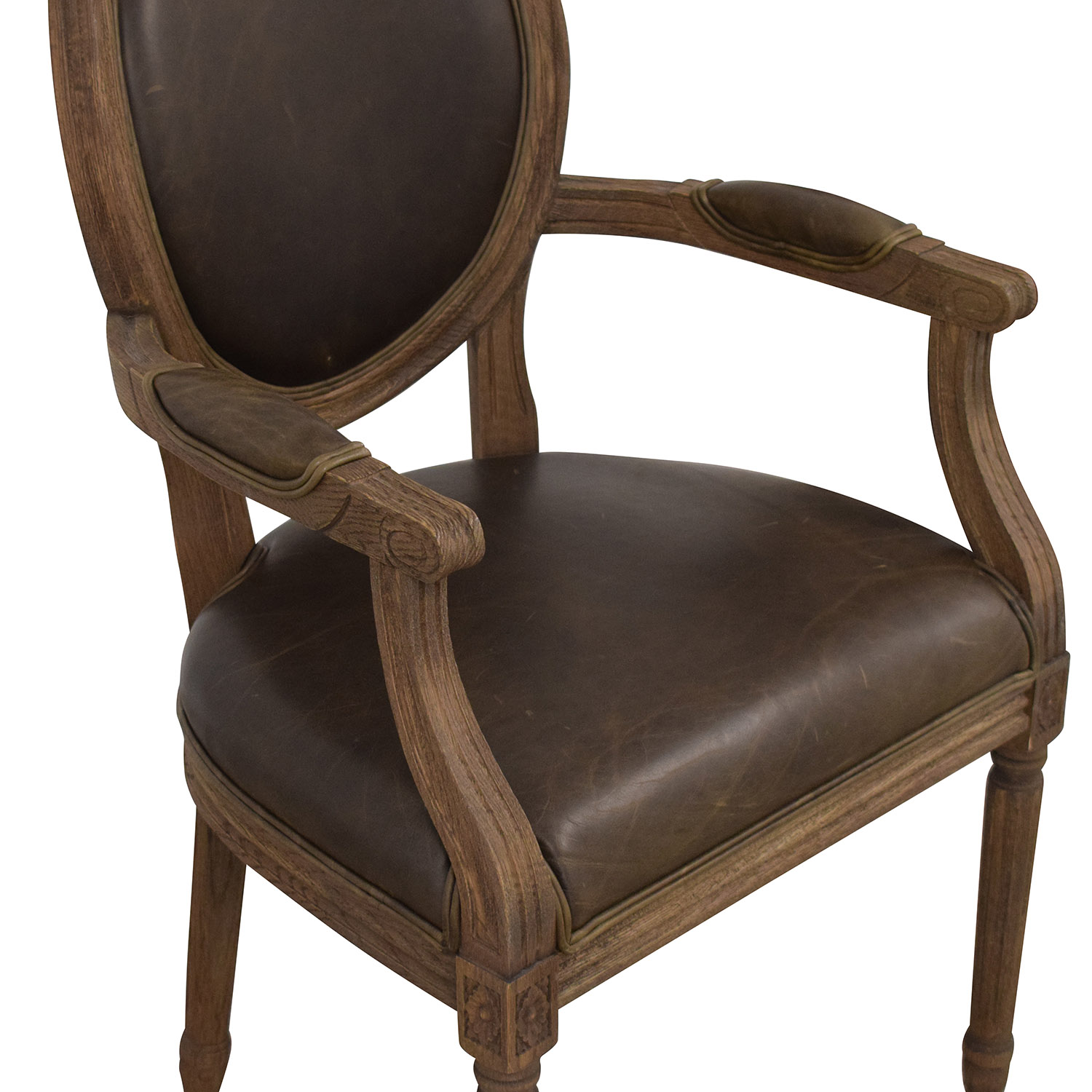 Restoration Hardware Restoration Hardware Vintage French Round Leather Armchairs nj