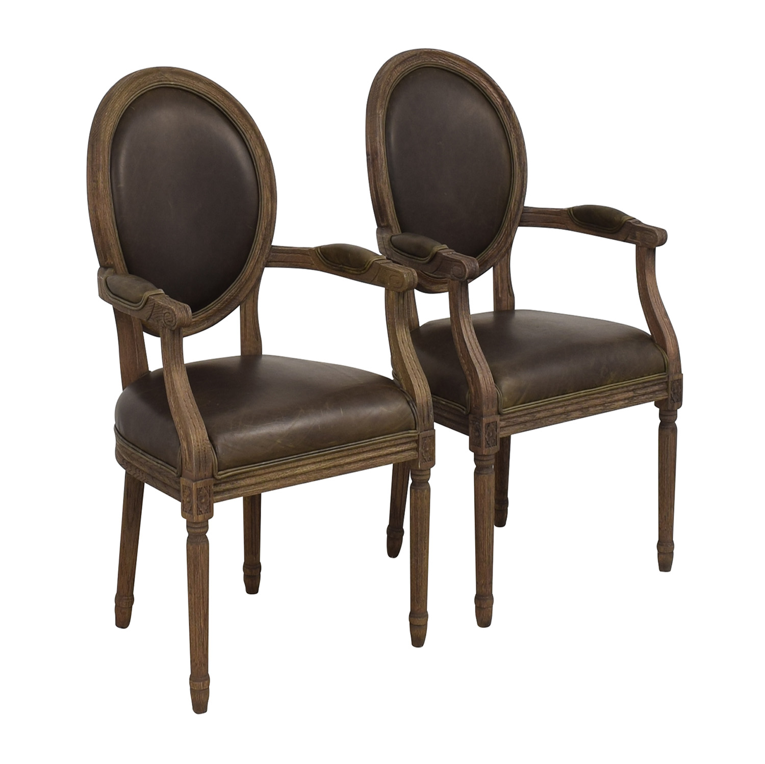 Restoration Hardware Restoration Hardware Vintage French Round Leather Armchairs ct