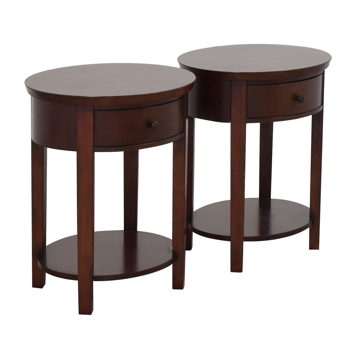 Pottery Barn Valencia Oval Bedside Tables / End Tables