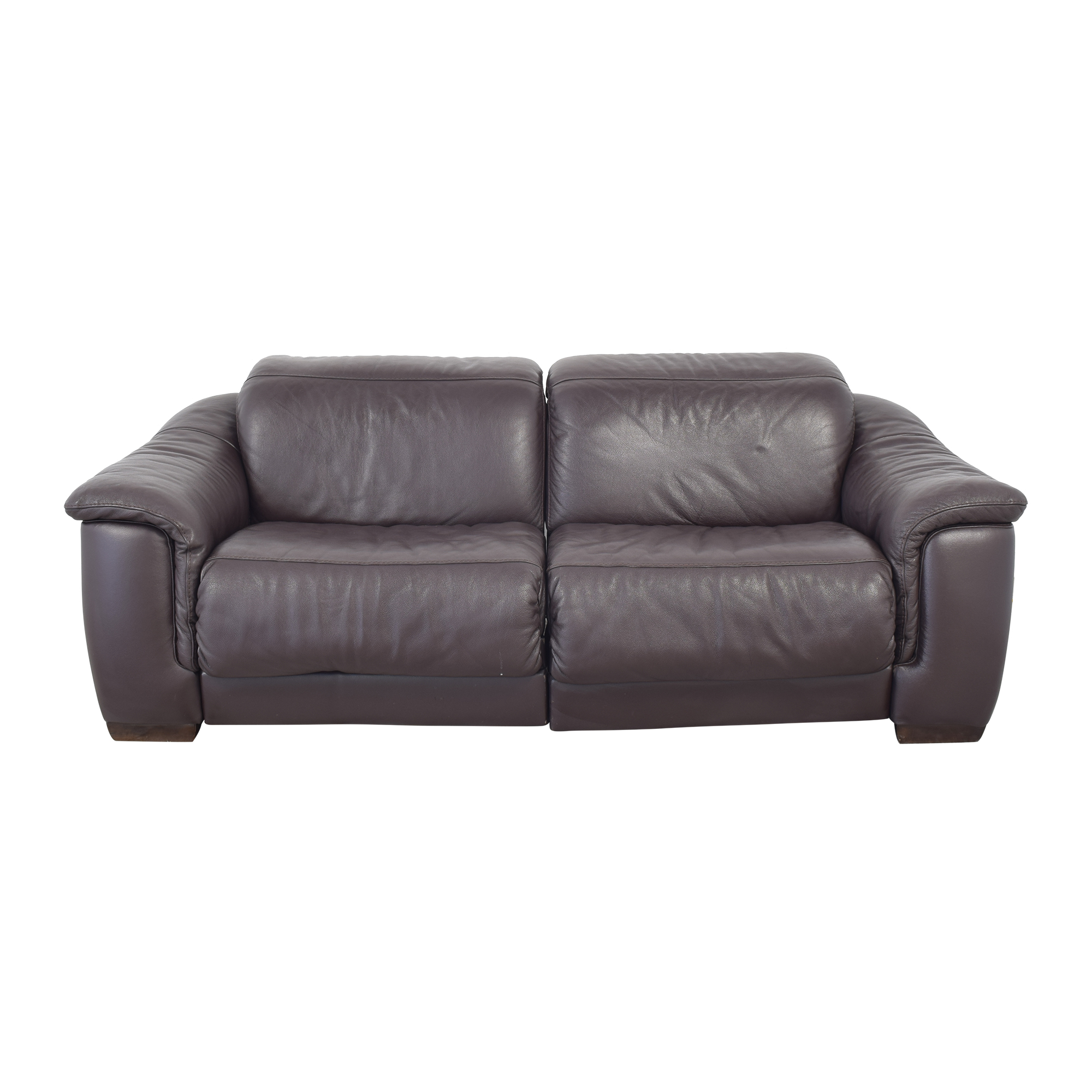 Macy's Macy's Natuzzi Two Cushion Reclining Sofa dark brown