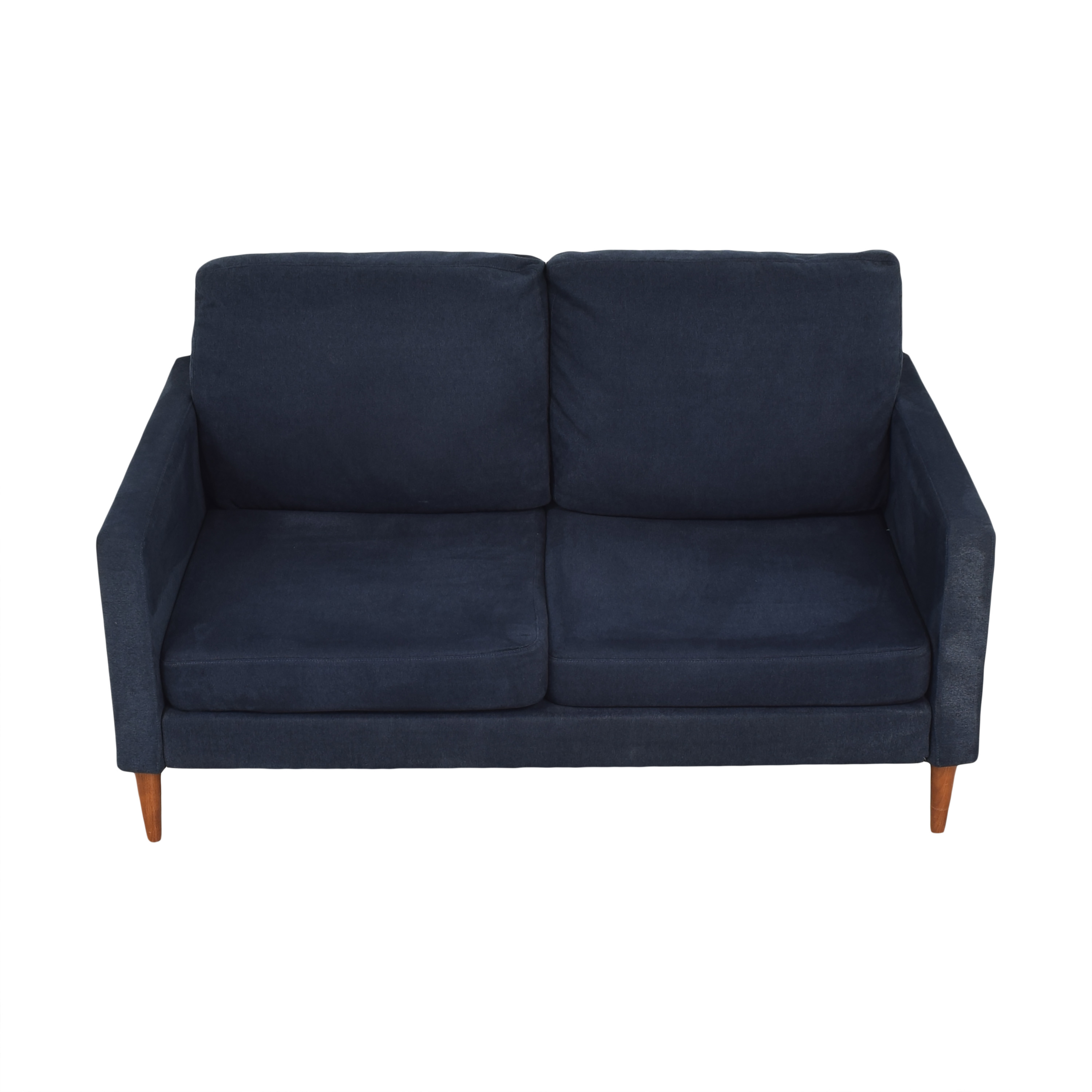Campaign Campaign Modern Loveseat in Brushed Weave Midnight Navy