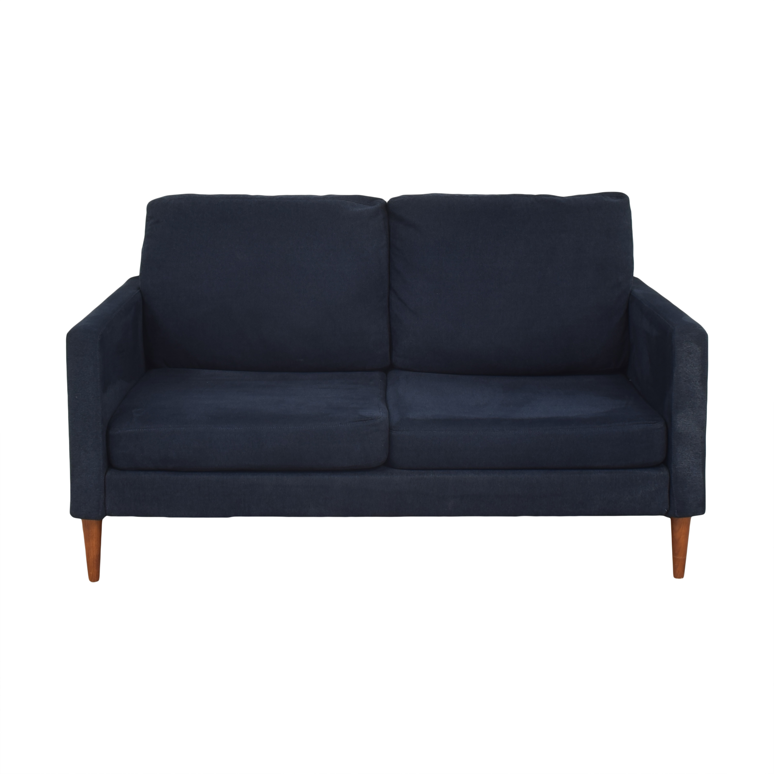 Campaign Campaign Modern Loveseat in Brushed Weave Midnight Navy for sale
