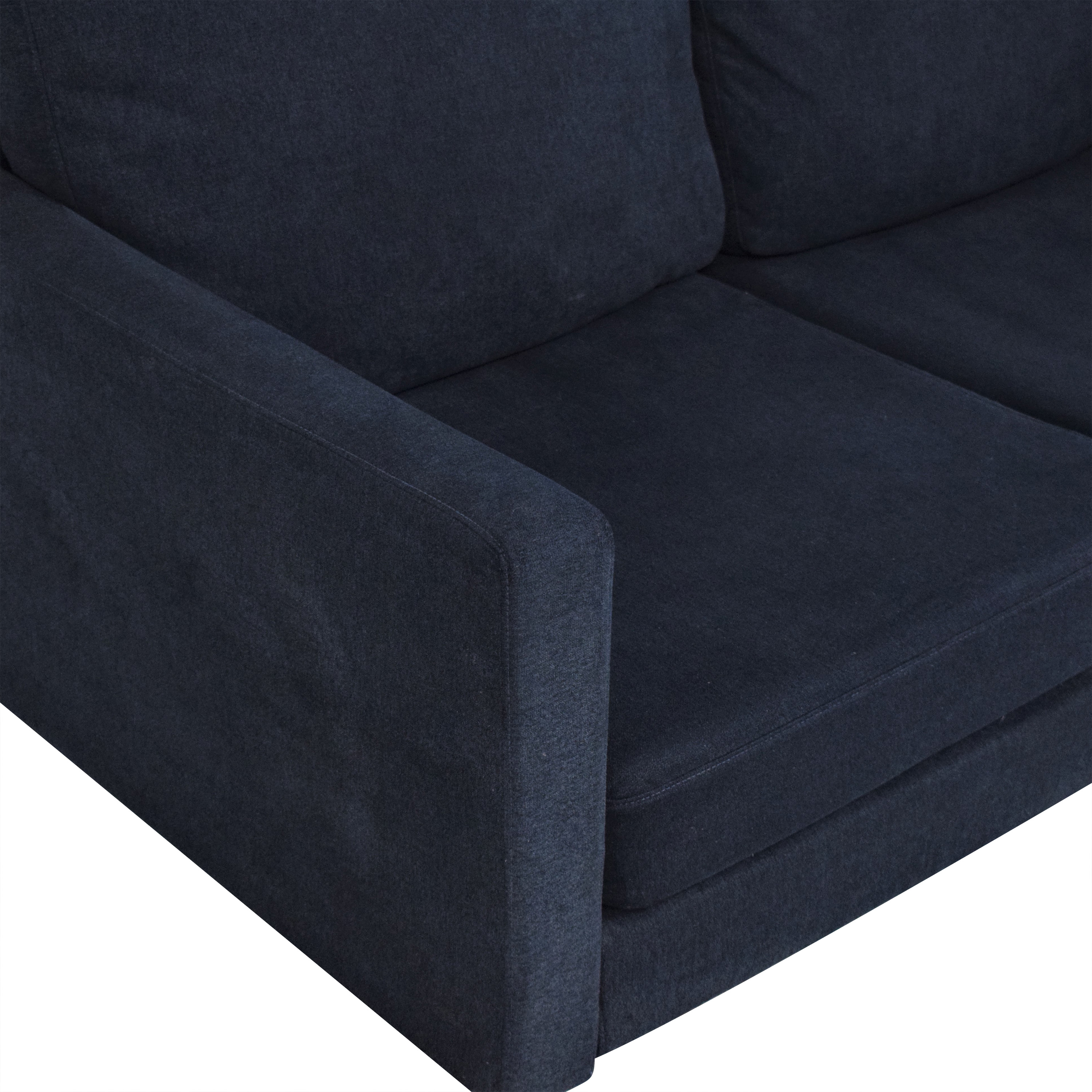 shop Campaign Modern Loveseat in Brushed Weave Midnight Navy Campaign
