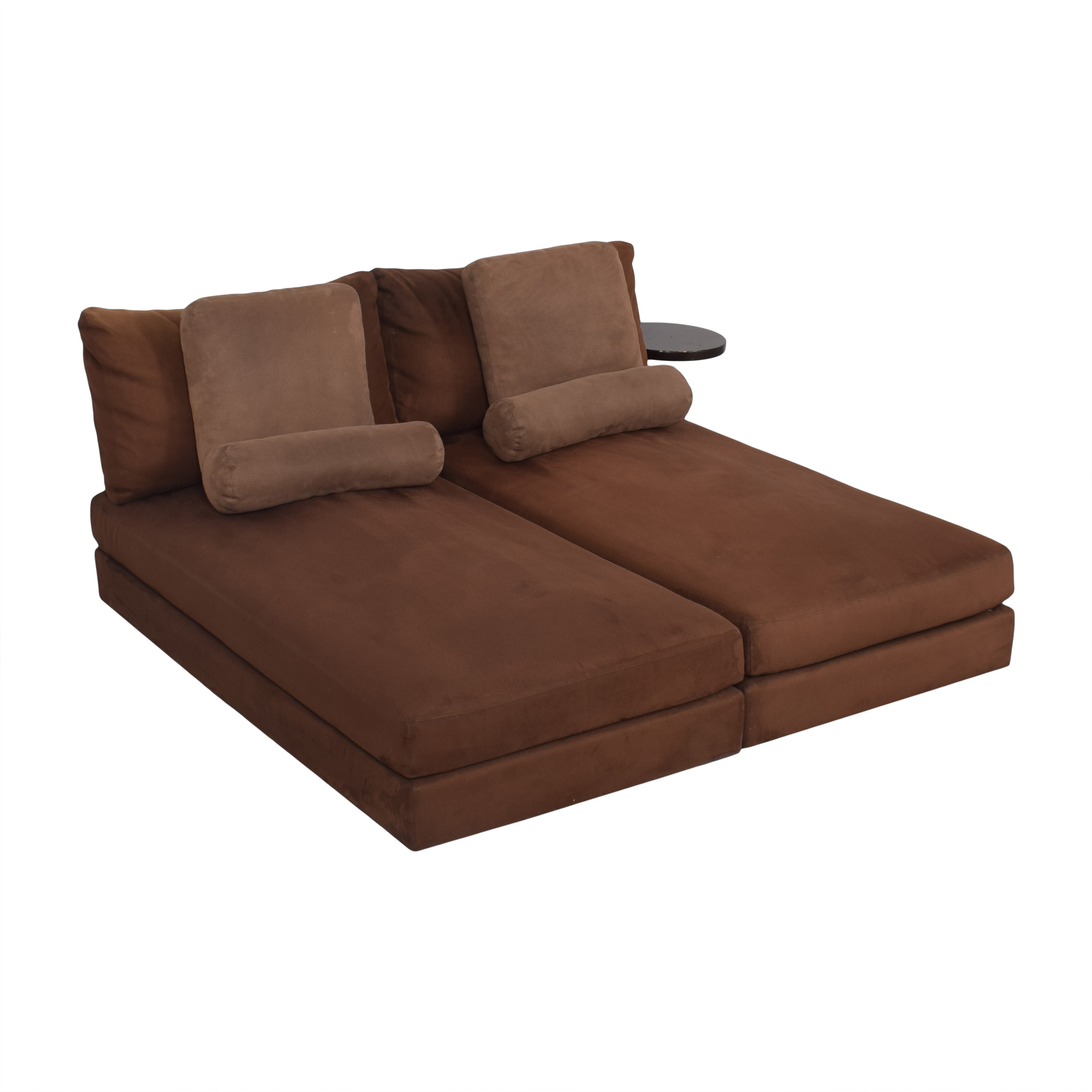 shop King Furniture Suede Chaise Sectional with Table Attachment King Furniture