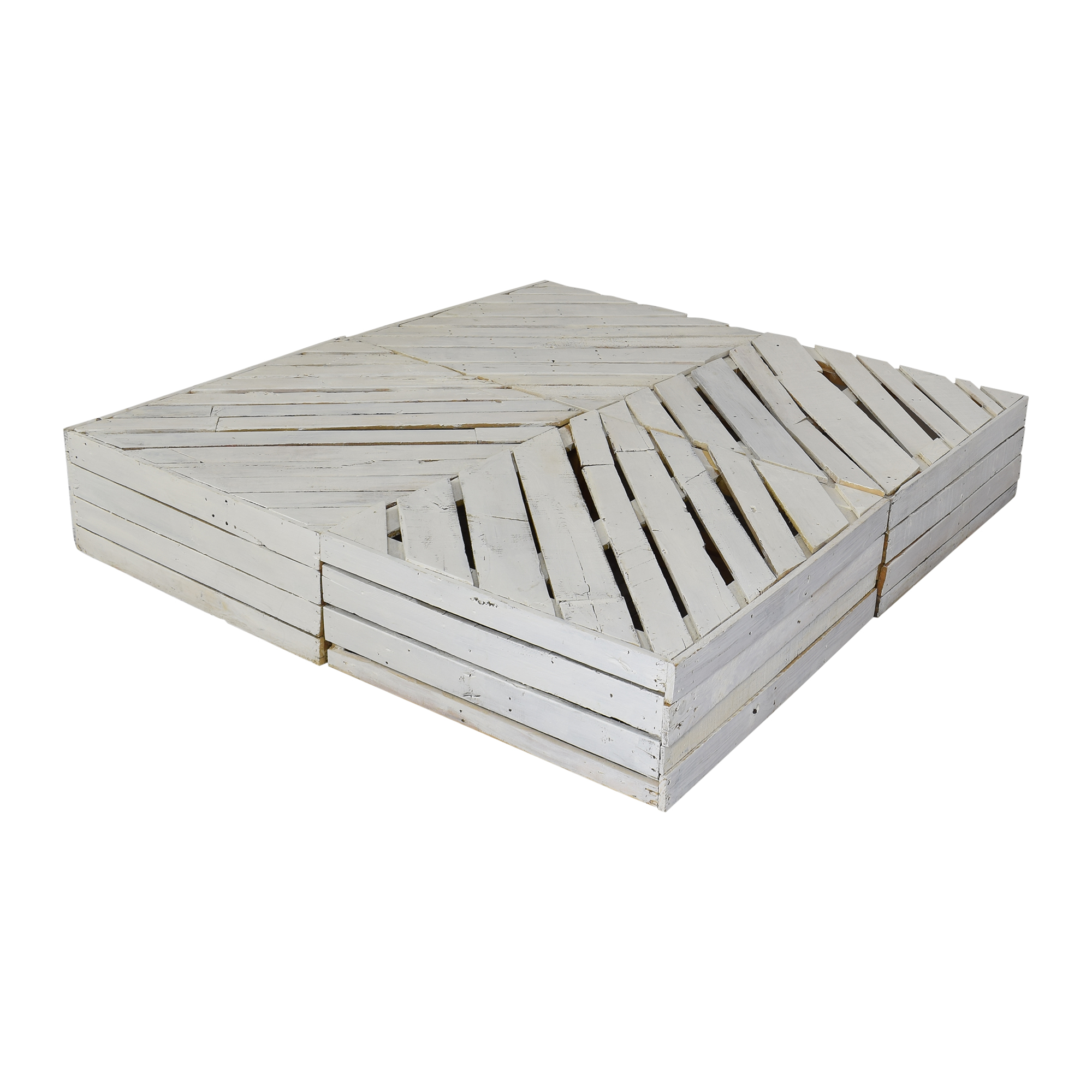 Custom White Pallet Queen to Full Bed Frame with Drawers for sale