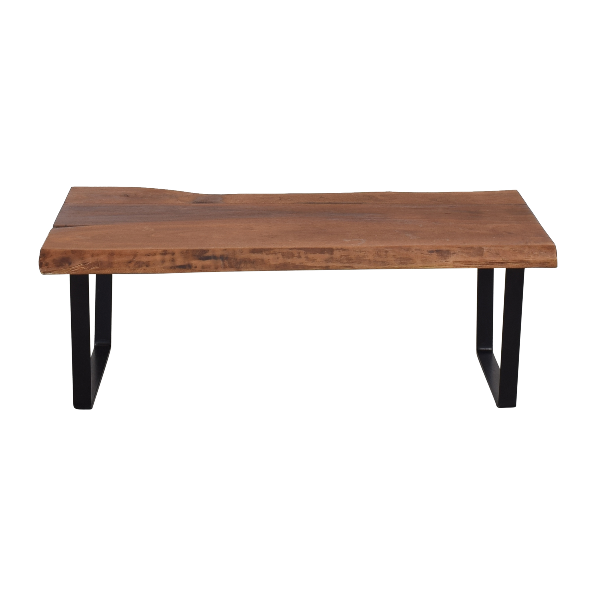 Modern Wood Coffee Table on Metal Legs for sale