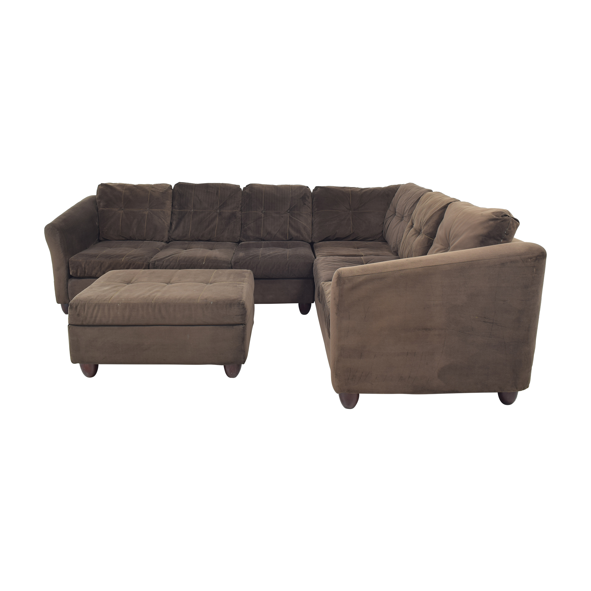 Raymour & Flanigan Raymour & Flanigan Brown Tufted Microsuede L-Shaped Sectional and Ottoman discount