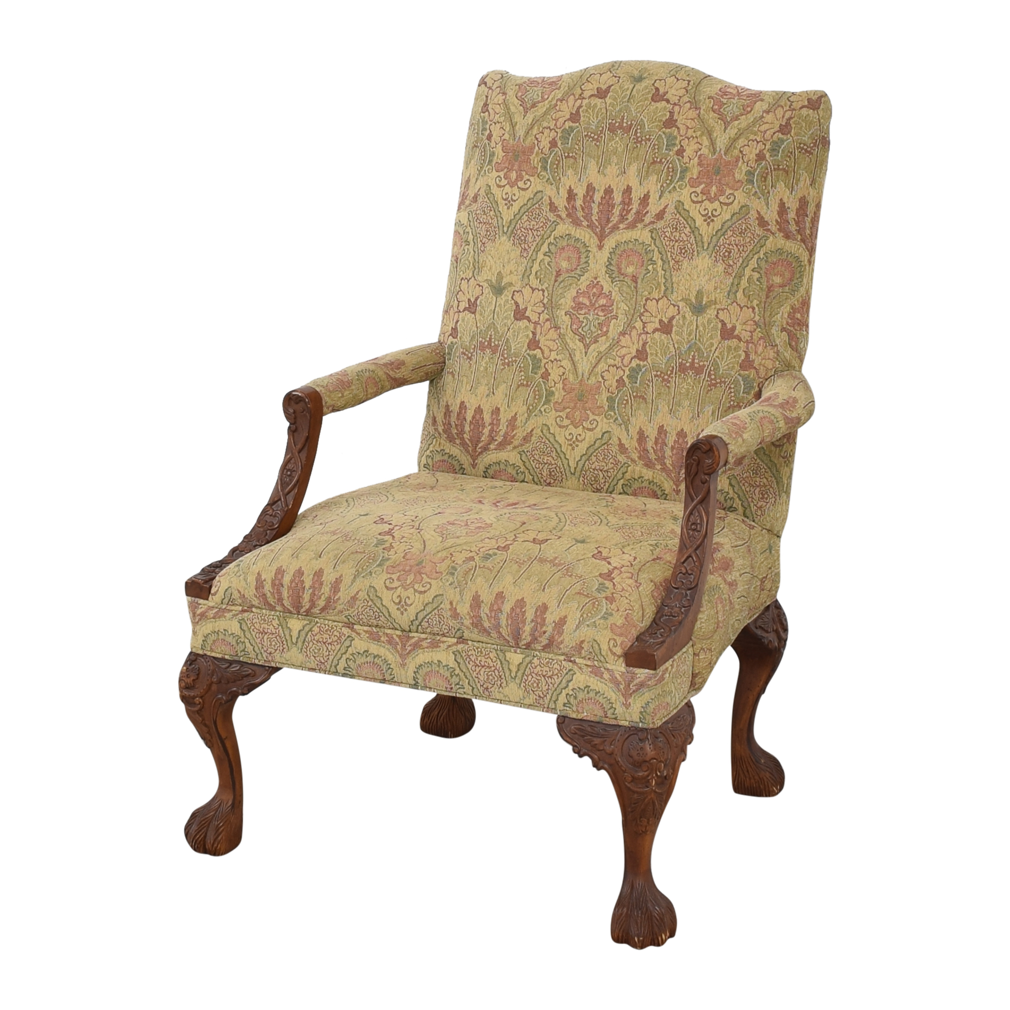 Sam Moore Sam Moore Tibetan Tapestry Old World Finish Carved Wood Chairs nj