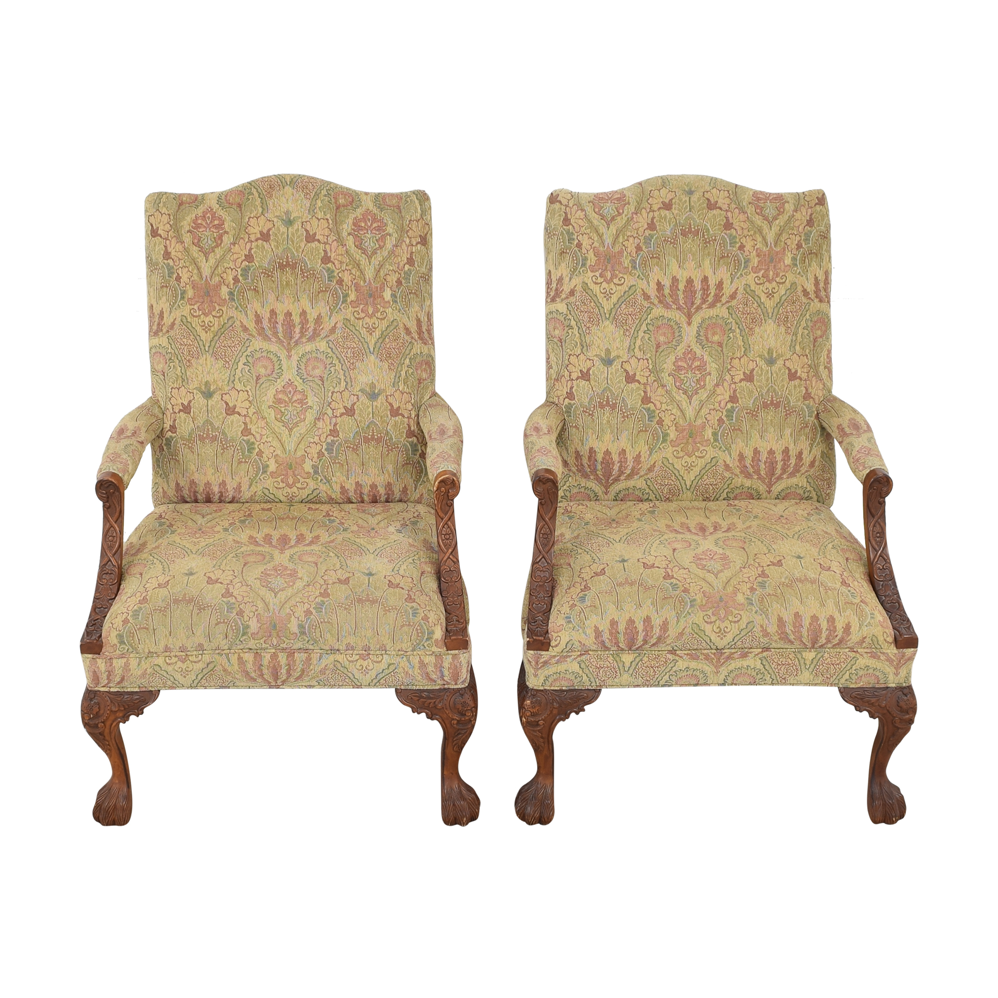Sam Moore Sam Moore Tibetan Tapestry Old World Finish Carved Wood Chairs discount