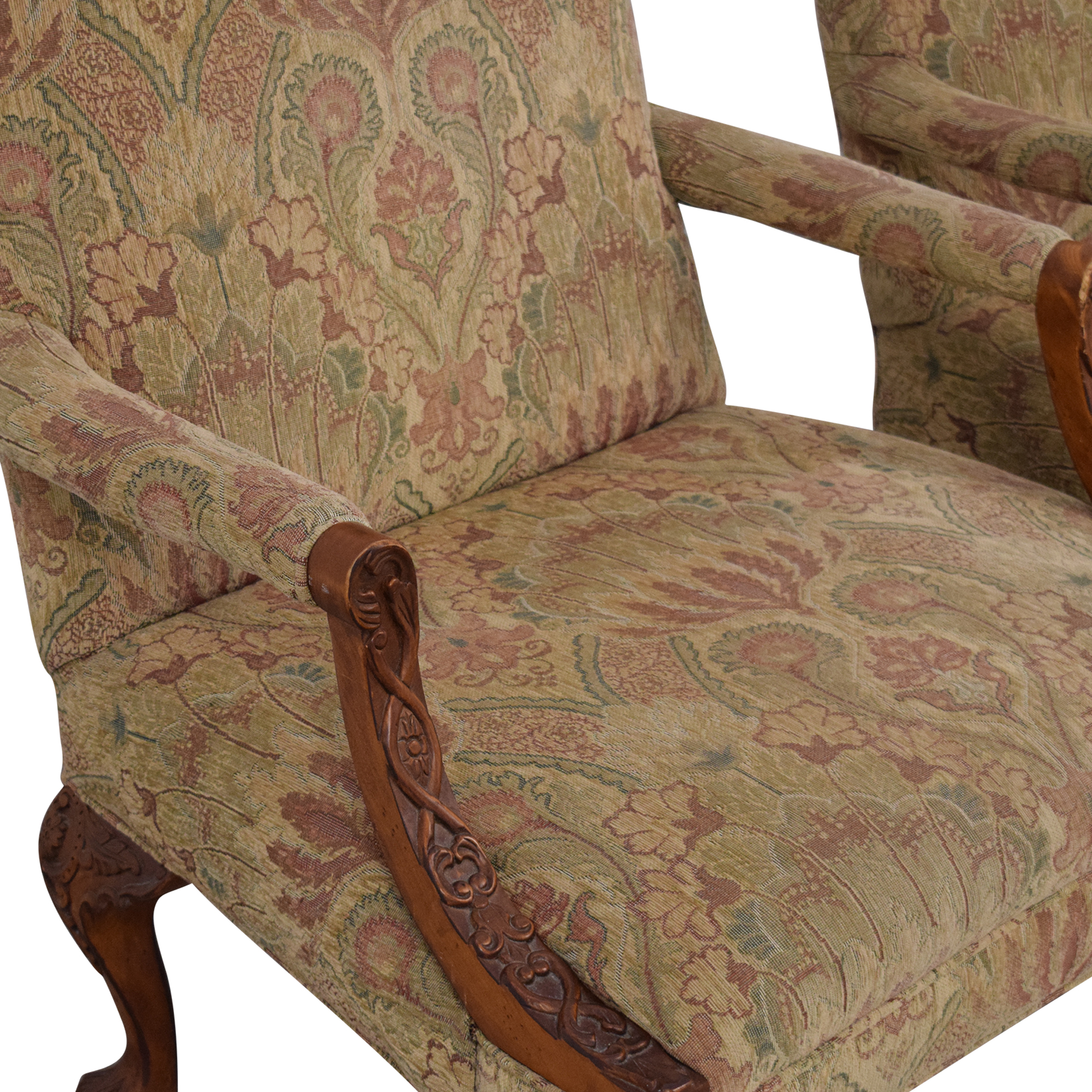 buy Sam Moore Sam Moore Tibetan Tapestry Old World Finish Carved Wood Chairs online
