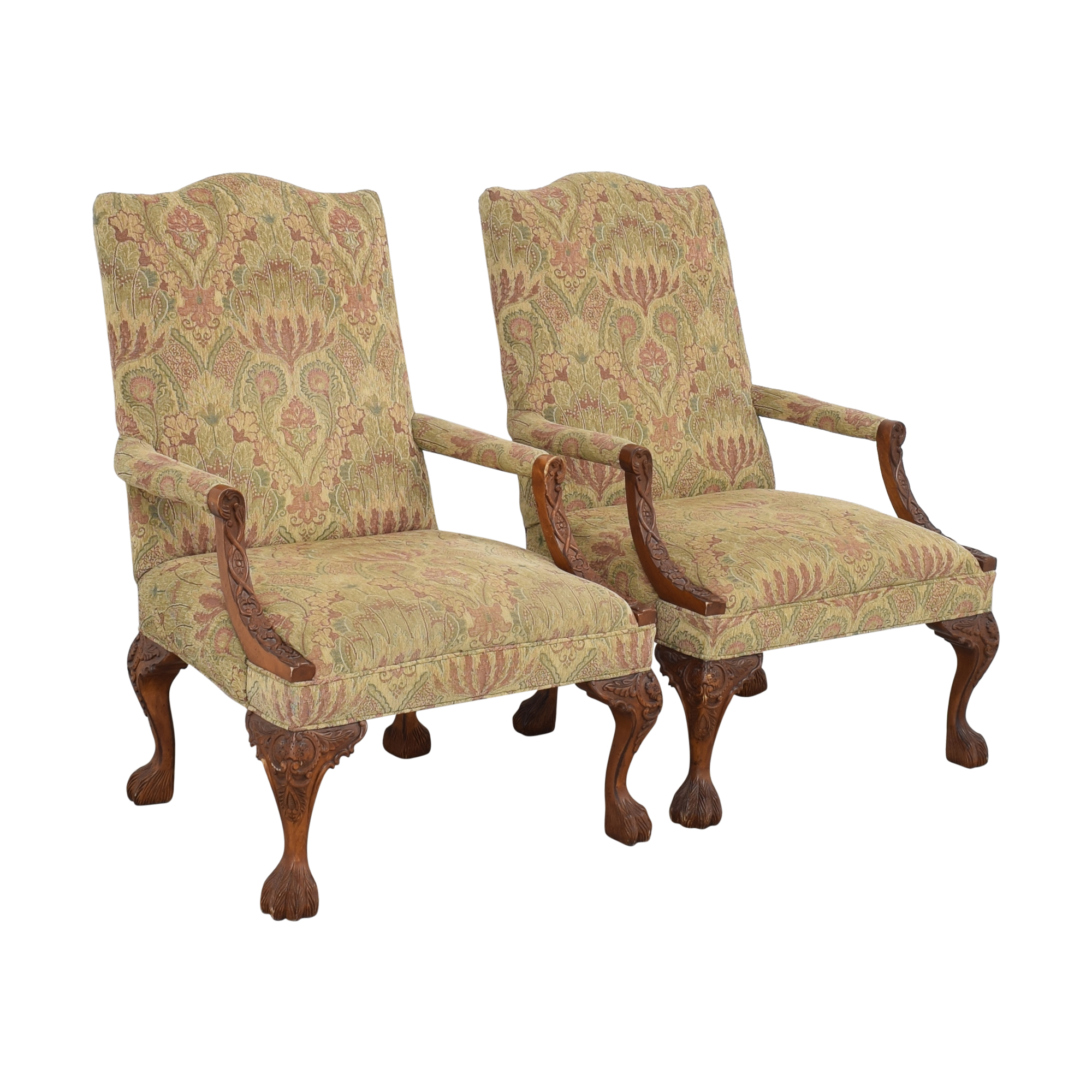 Sam Moore Sam Moore Tibetan Tapestry Old World Finish Carved Wood Chairs coupon