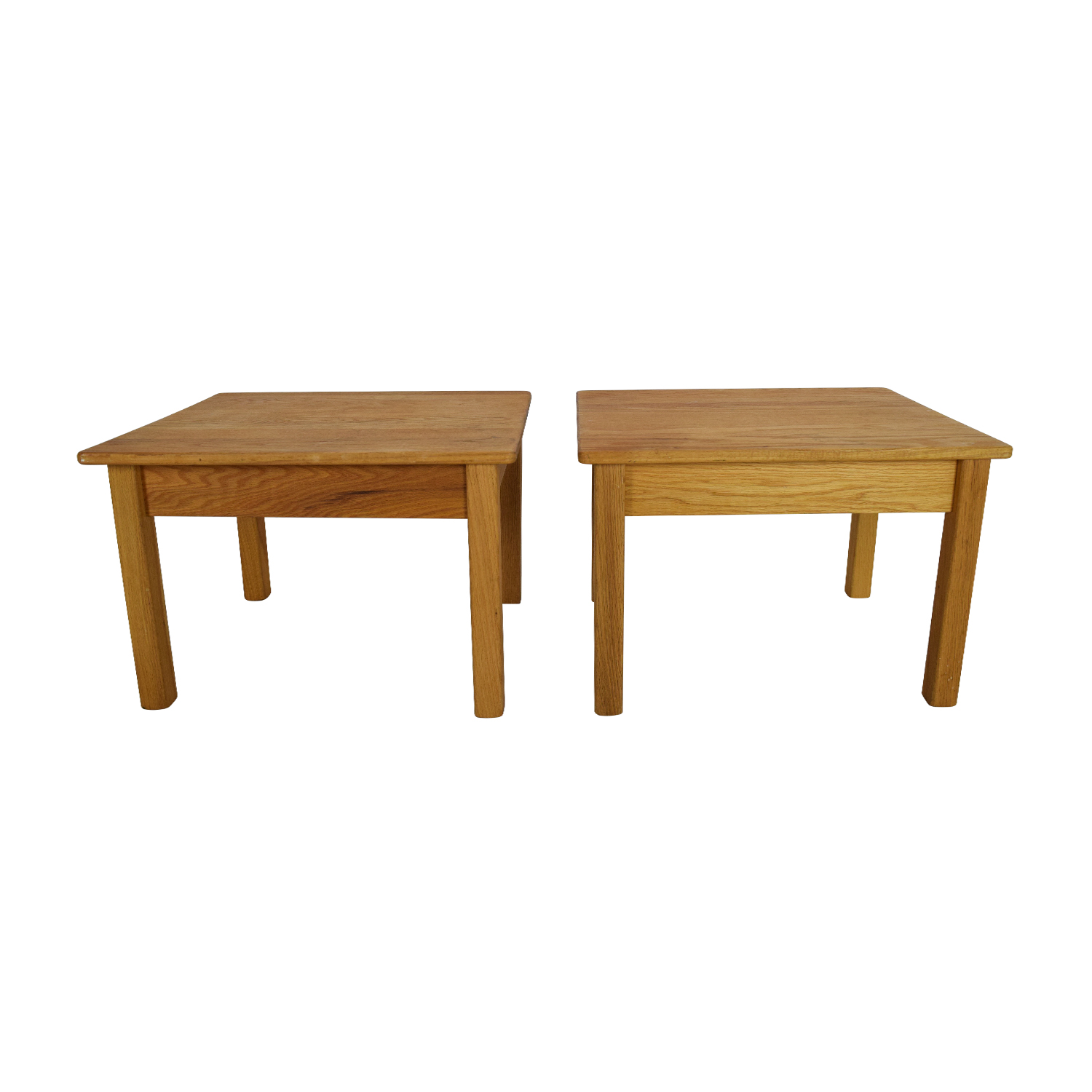 Unknown Brand Natural Wood Twin End Tables for sale