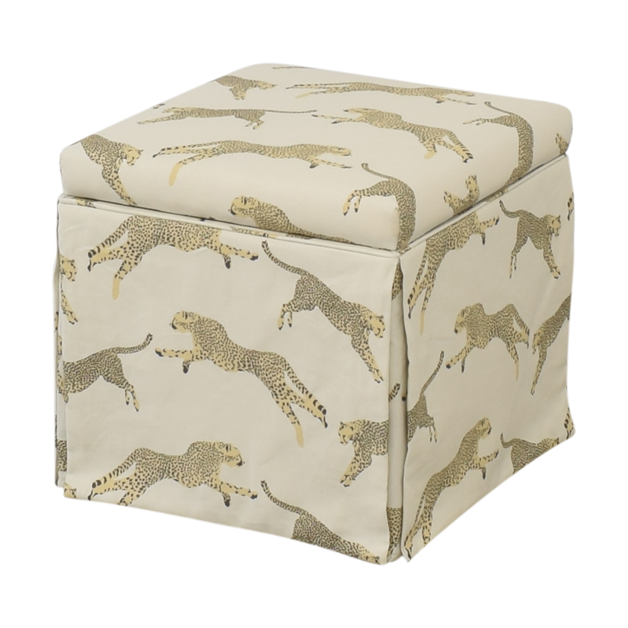 The Inside The Inside Skirted Storage Ottoman light yellow
