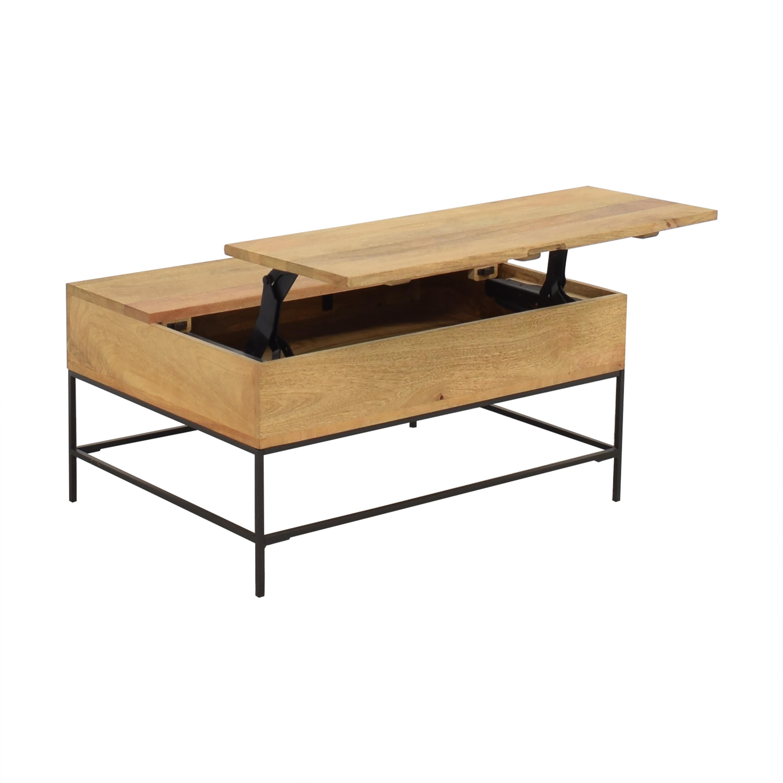 West Elm West Elm Industrial Storage Pop-Up Coffee Table light brown