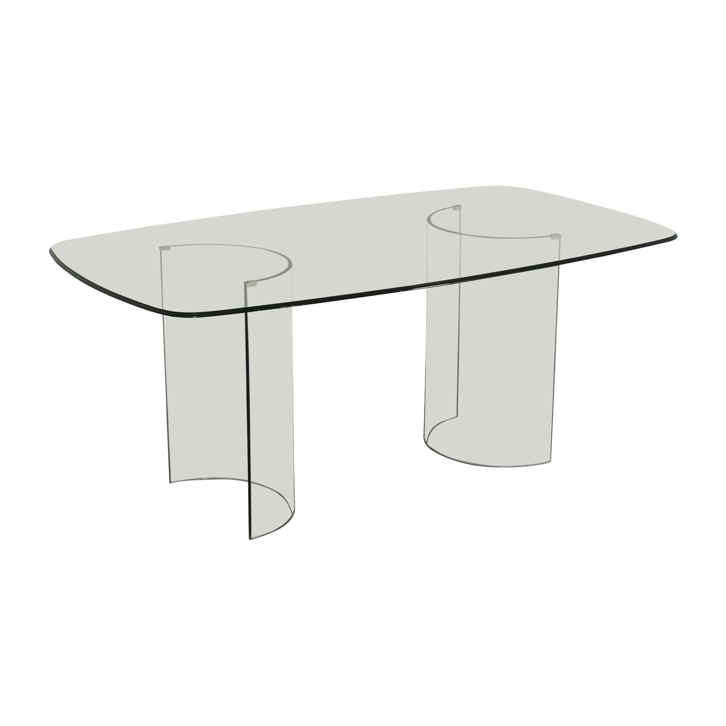 shop Raymour & Flanigan Beveled Tempered Glass Dining Table Raymour & Flanigan Dinner Tables