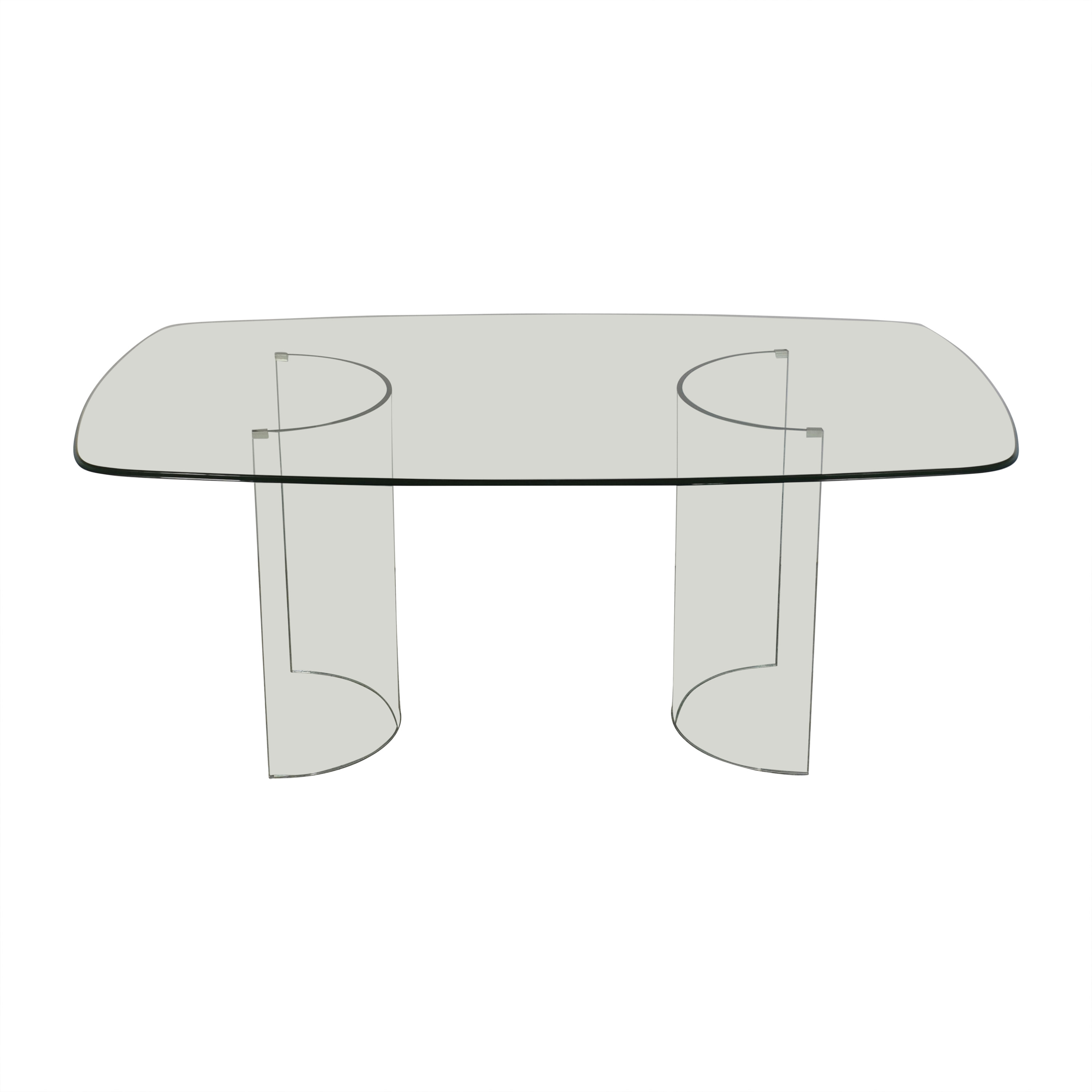 Raymour & Flanigan Raymour & Flanigan Beveled Tempered Glass Dining Table price