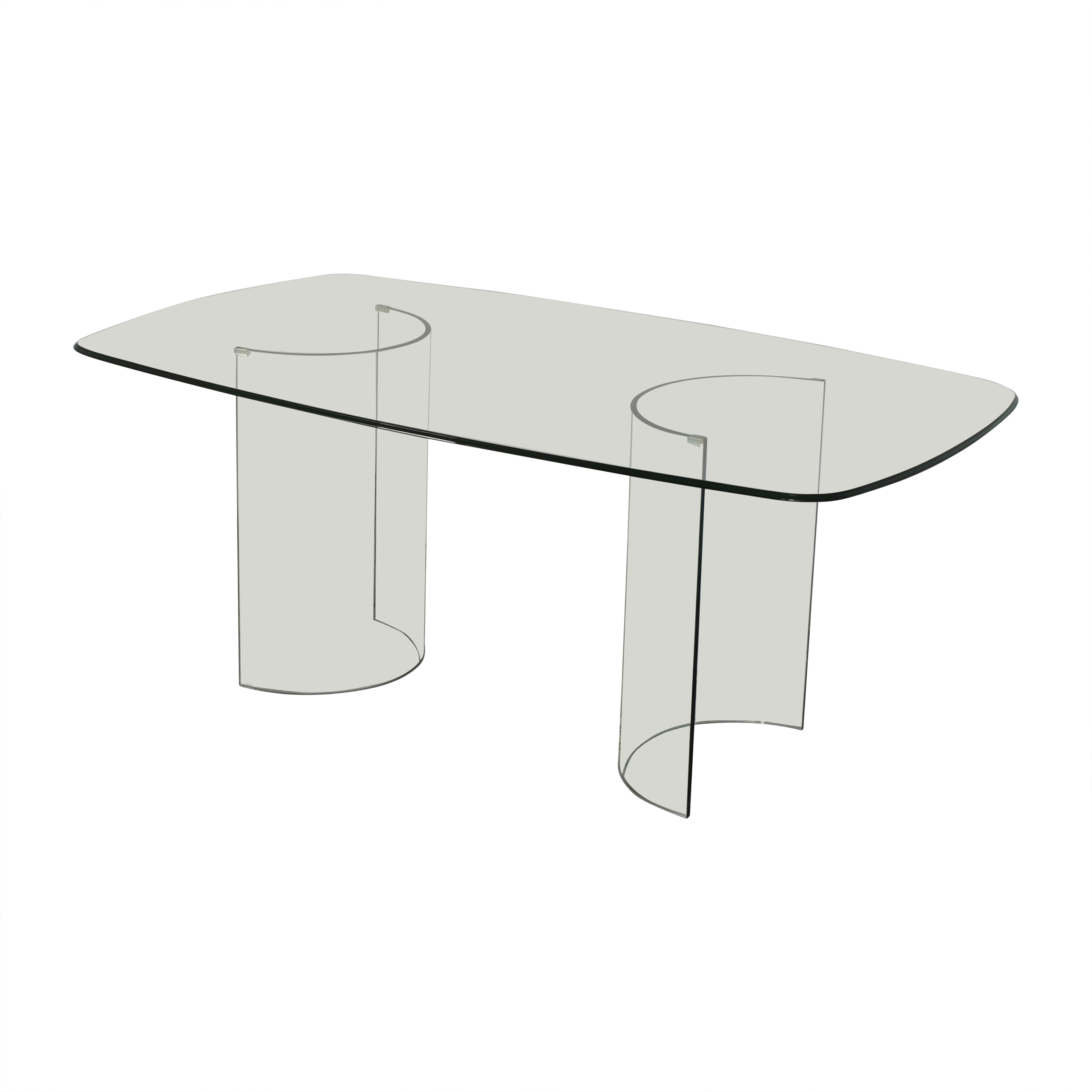 Raymour & Flanigan Raymour & Flanigan Beveled Tempered Glass Dining Table Dinner Tables