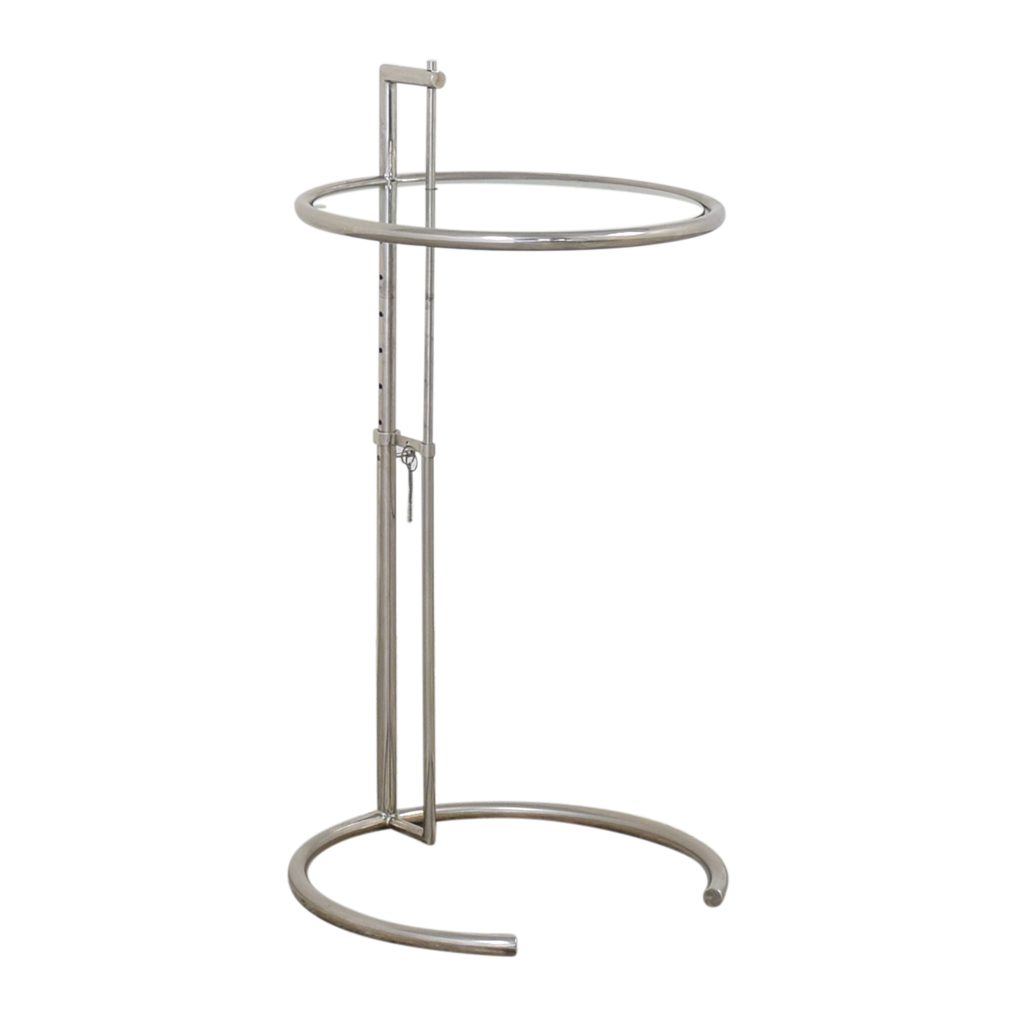 Vintage Eileen Gray-Style Chrome & Glass Side Table Accent Tables