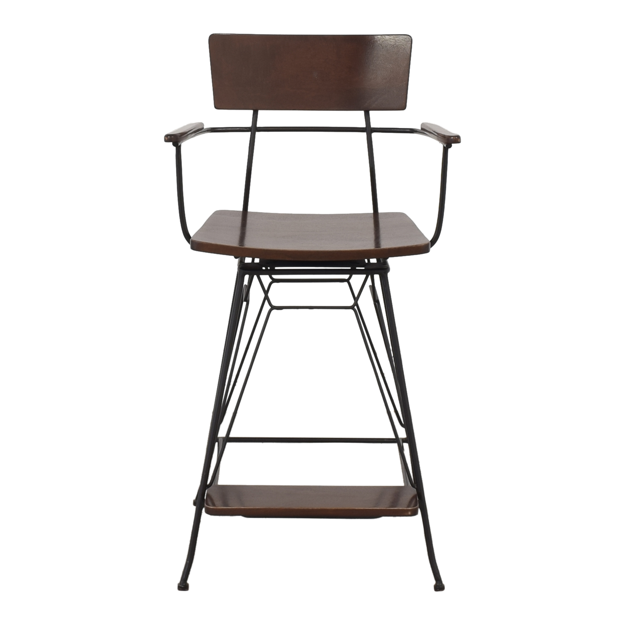Crate & Barrel Crate & Barrel Elston Swivel Bar Stool brown
