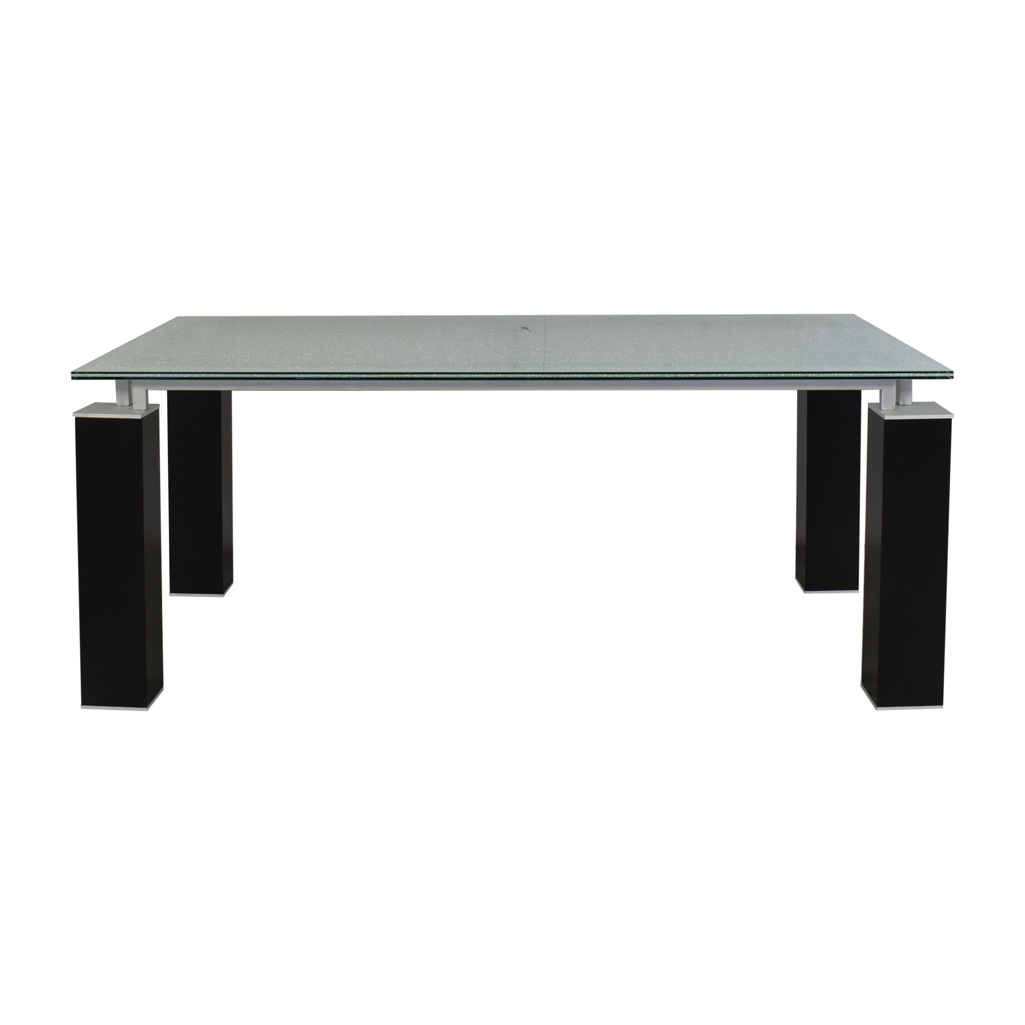 Contemporary Crackle Glass Dining Table black and silver