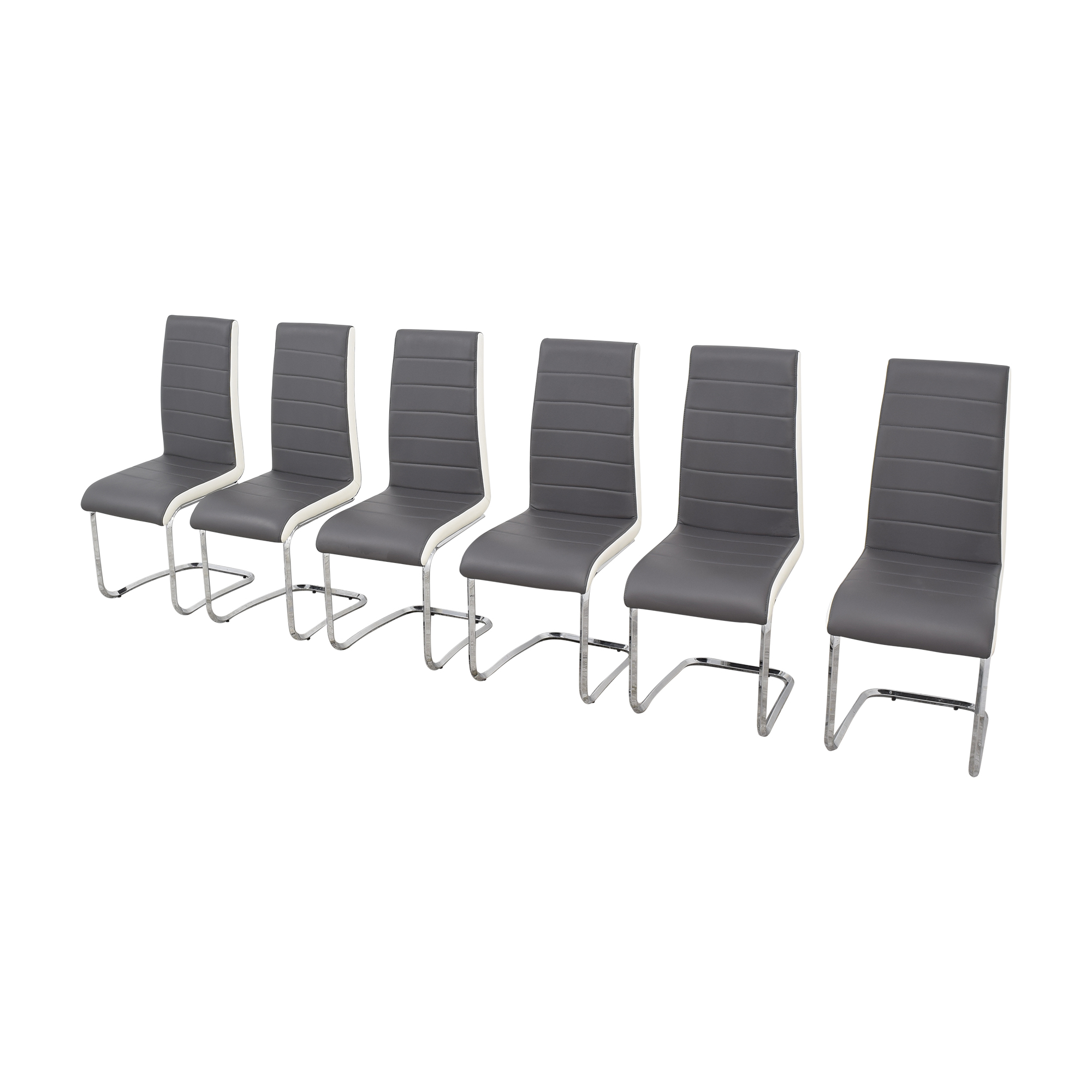 Steve Silver Co Steve Silver Gray and White Retro Dining Chairs Chairs