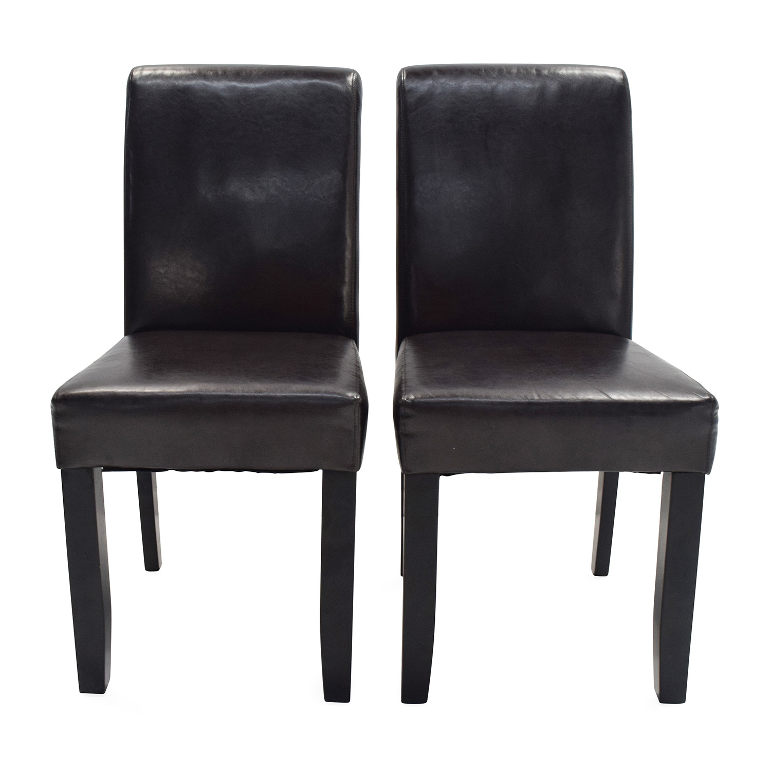 Unknown Brand Espresso Leather Dining Chairs Dark Chocolate