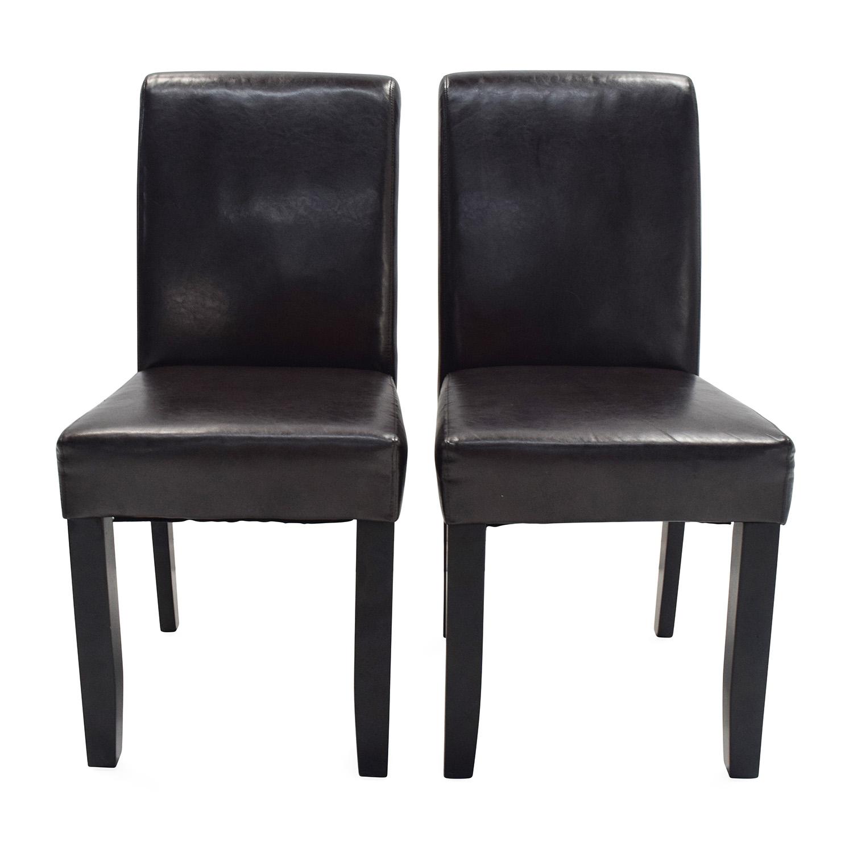 Unknown Brand Espresso Leather Dining Chairs Dark Chocolate