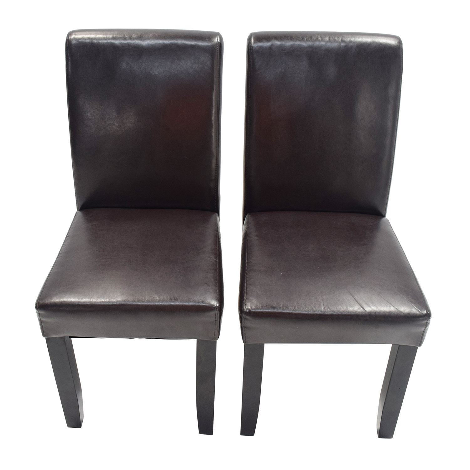 Unknown Brand Espresso Leather Dining Chairs nj