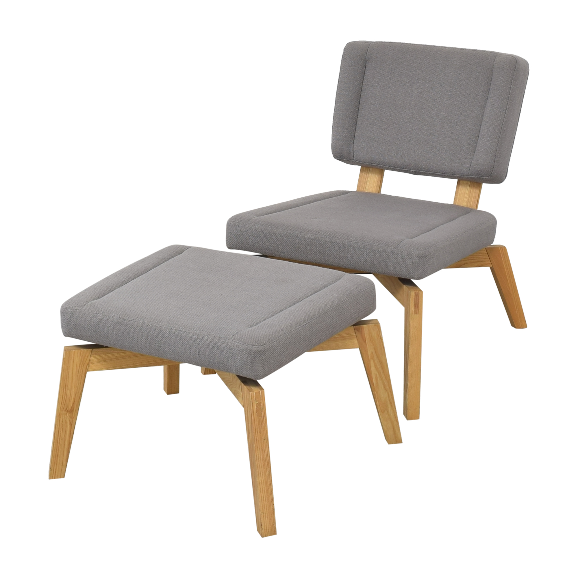 CB2 Lounge Chair with Ottoman sale