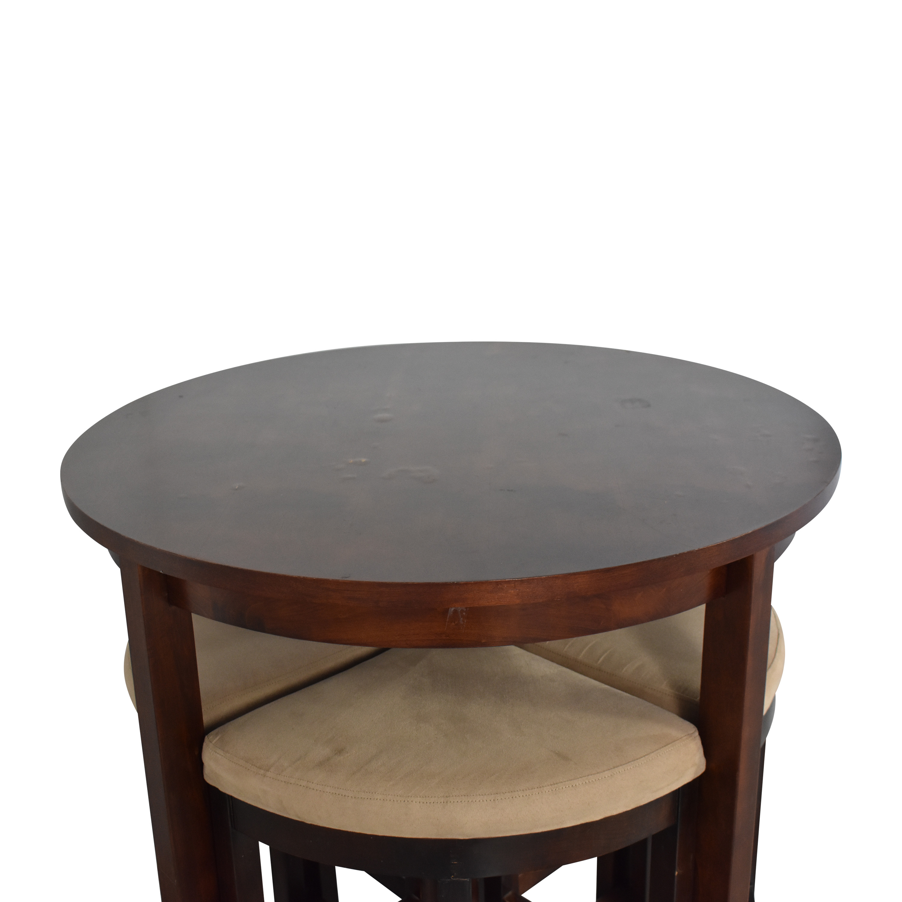 Raymour & Flanigan Round Table and Stools Raymour & Flanigan