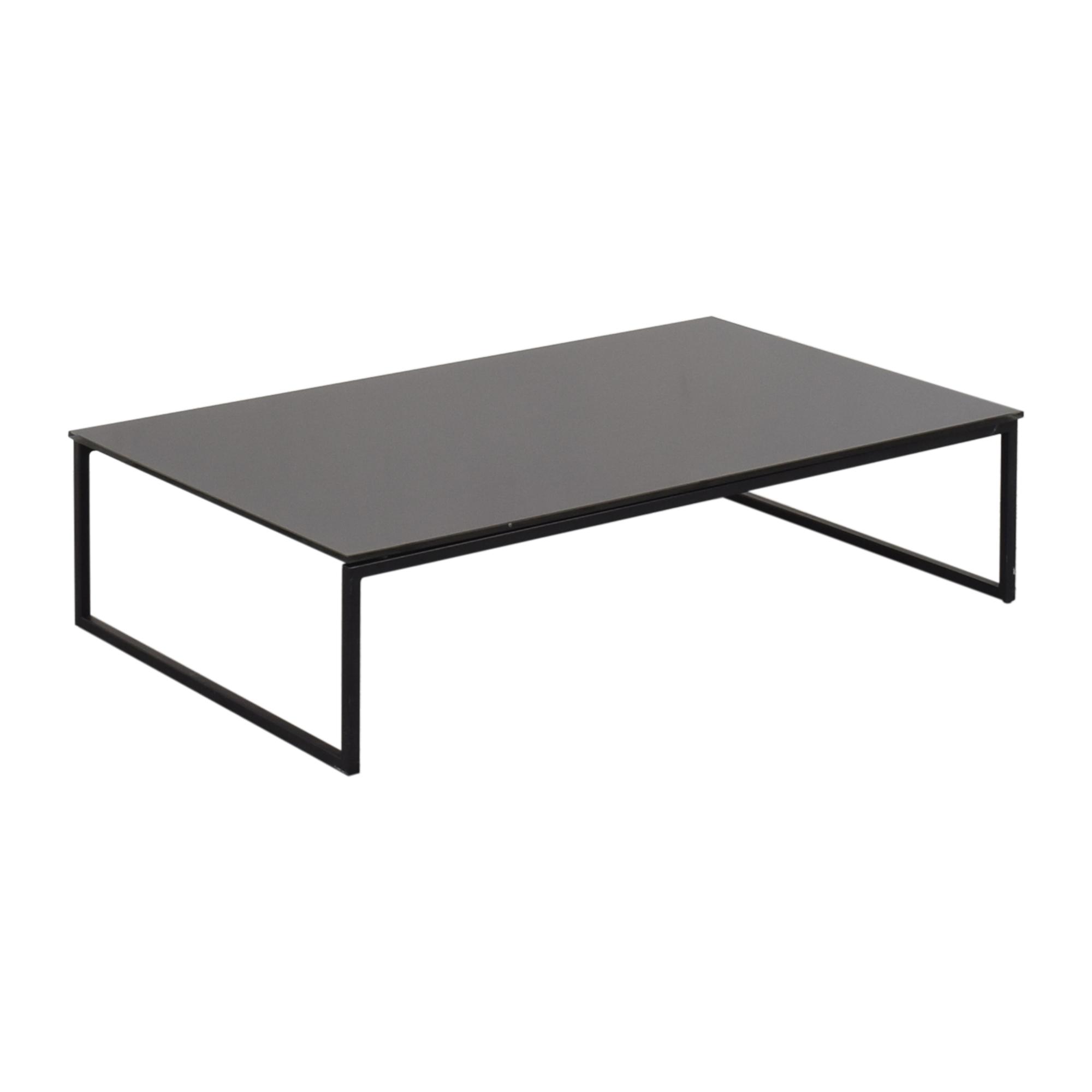 Black Glass & Metal Coffee Table black