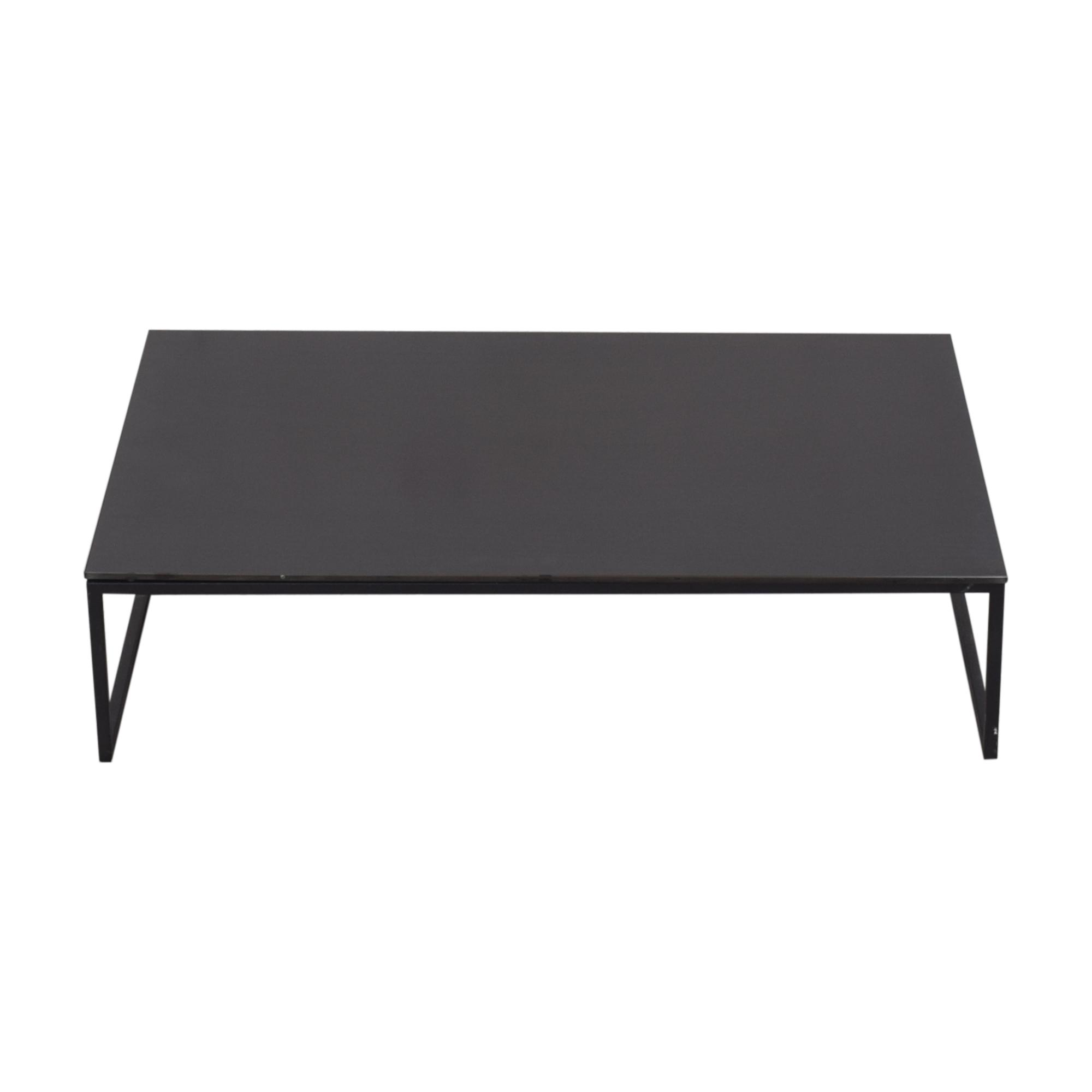 Black Glass & Metal Coffee Table for sale
