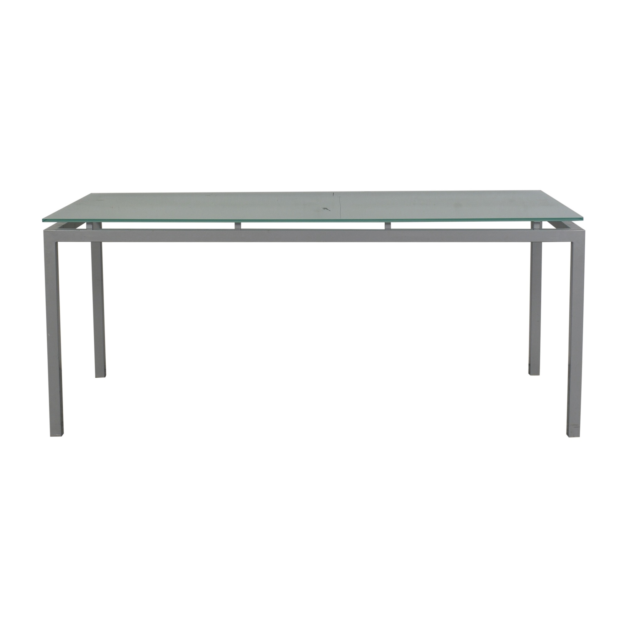 Aluminum and Glass Dinner Table silver