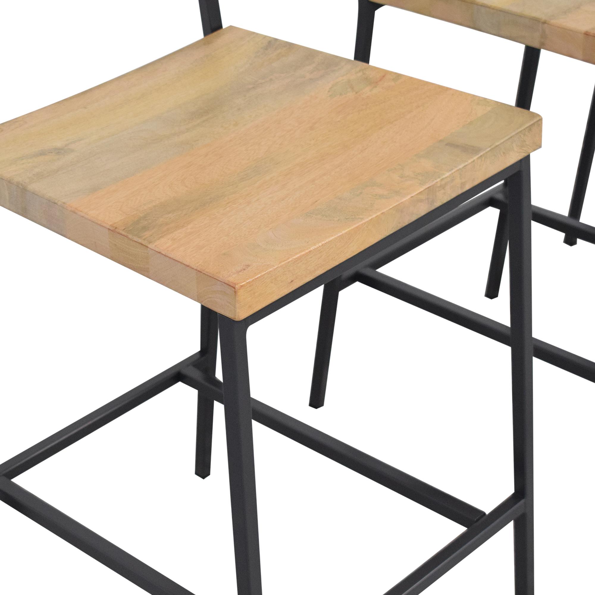 West Elm Rustic Bar Stools Mango Wood / Chairs