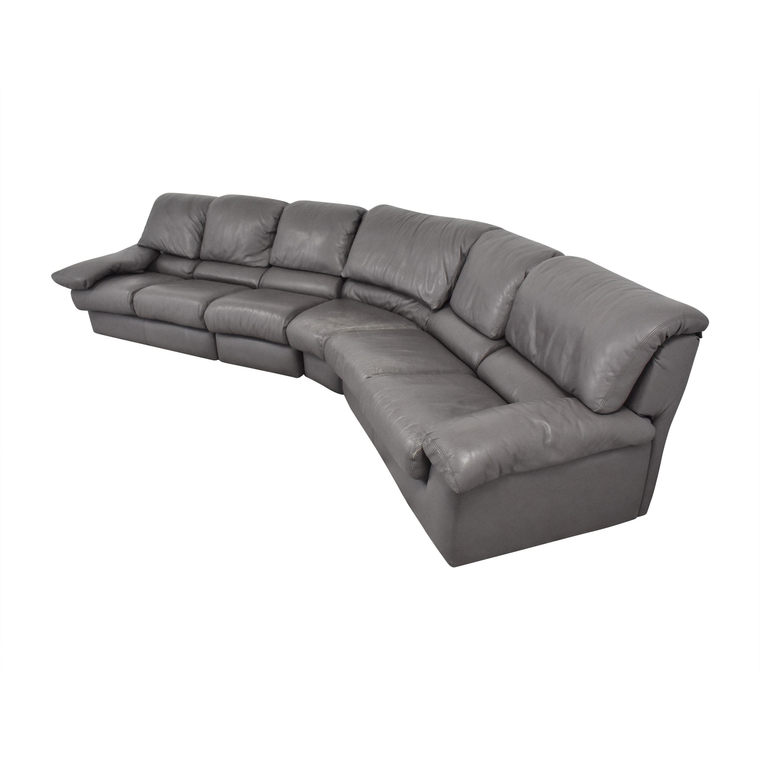 Leather Center Leather Center Curved Sectional Sofa with Ottoman pa
