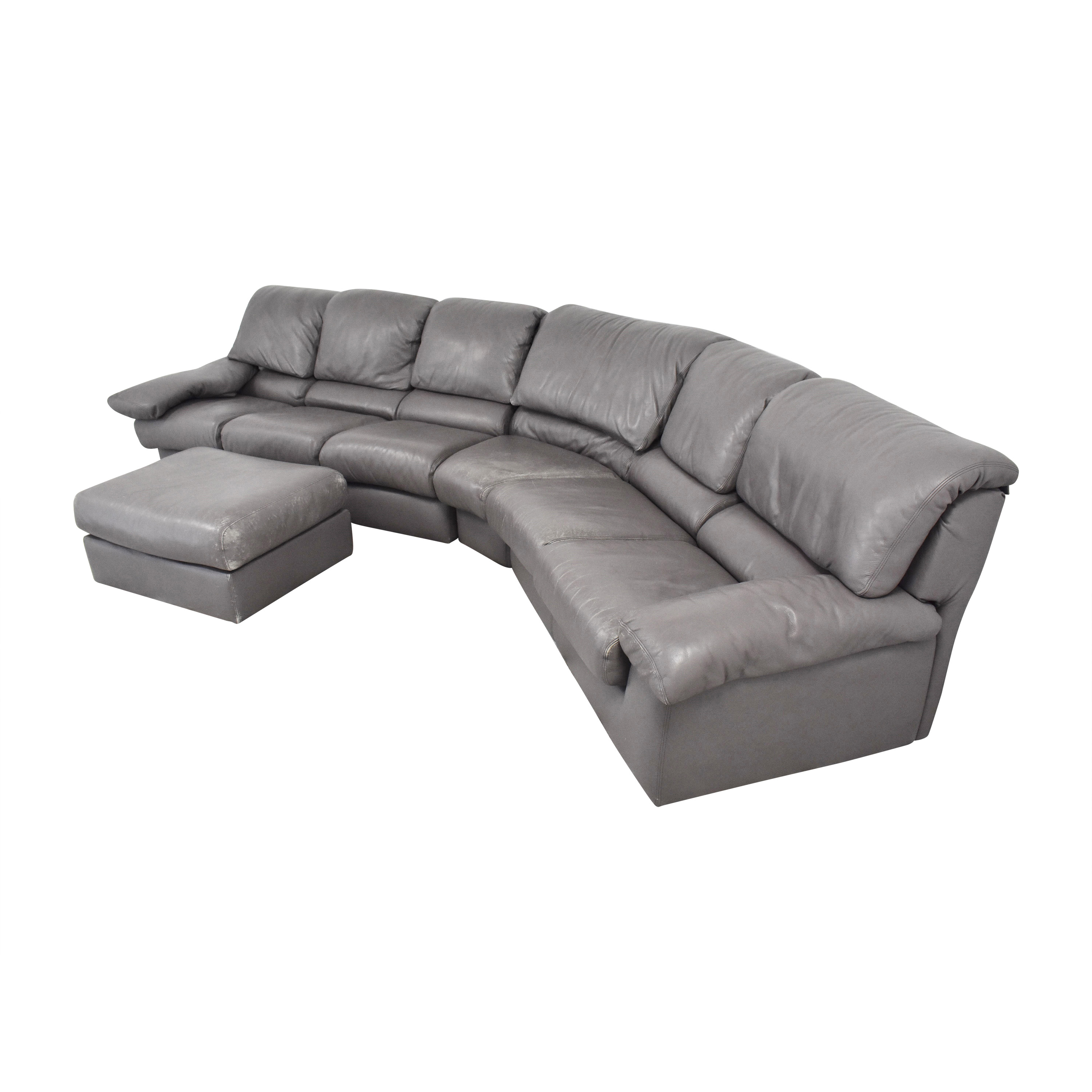 Leather Center Leather Center Curved Sectional Sofa with Ottoman coupon