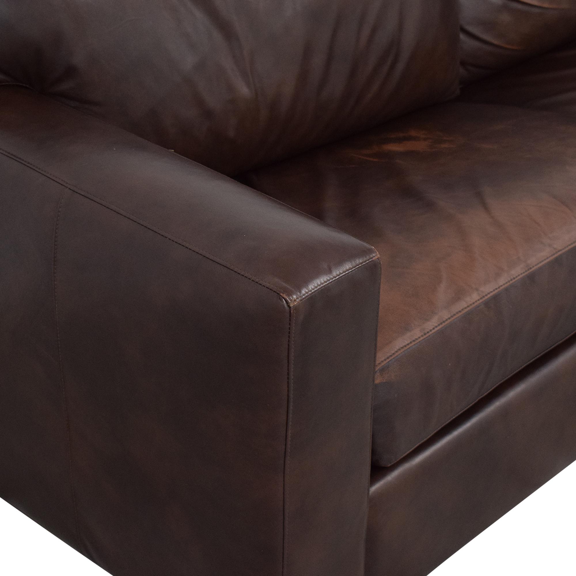 shop Crate & Barrel Axis II Leather Two Seat Queen Sleeper Sofa Crate & Barrel