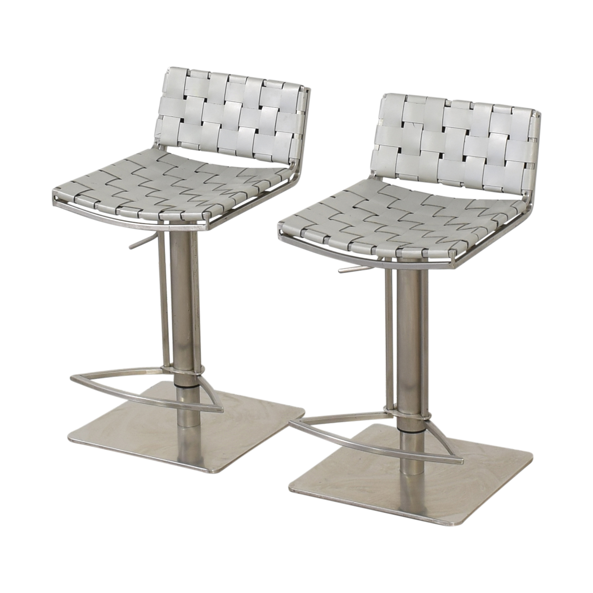 White and Chrome Woven Barstools coupon