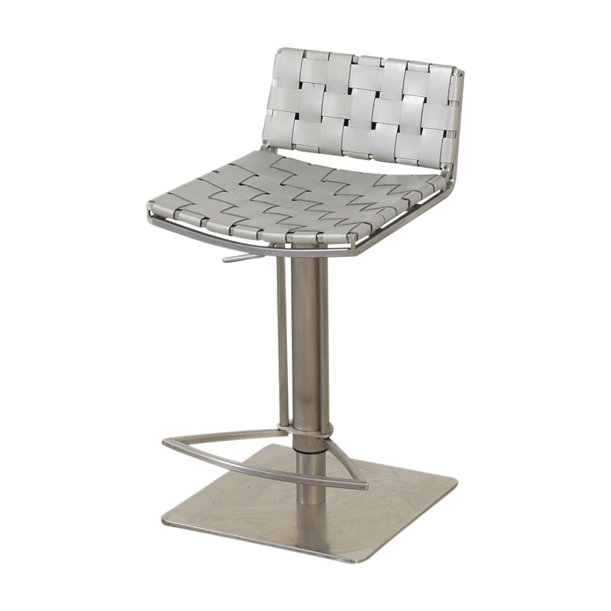 White and Chrome Woven Barstools pa