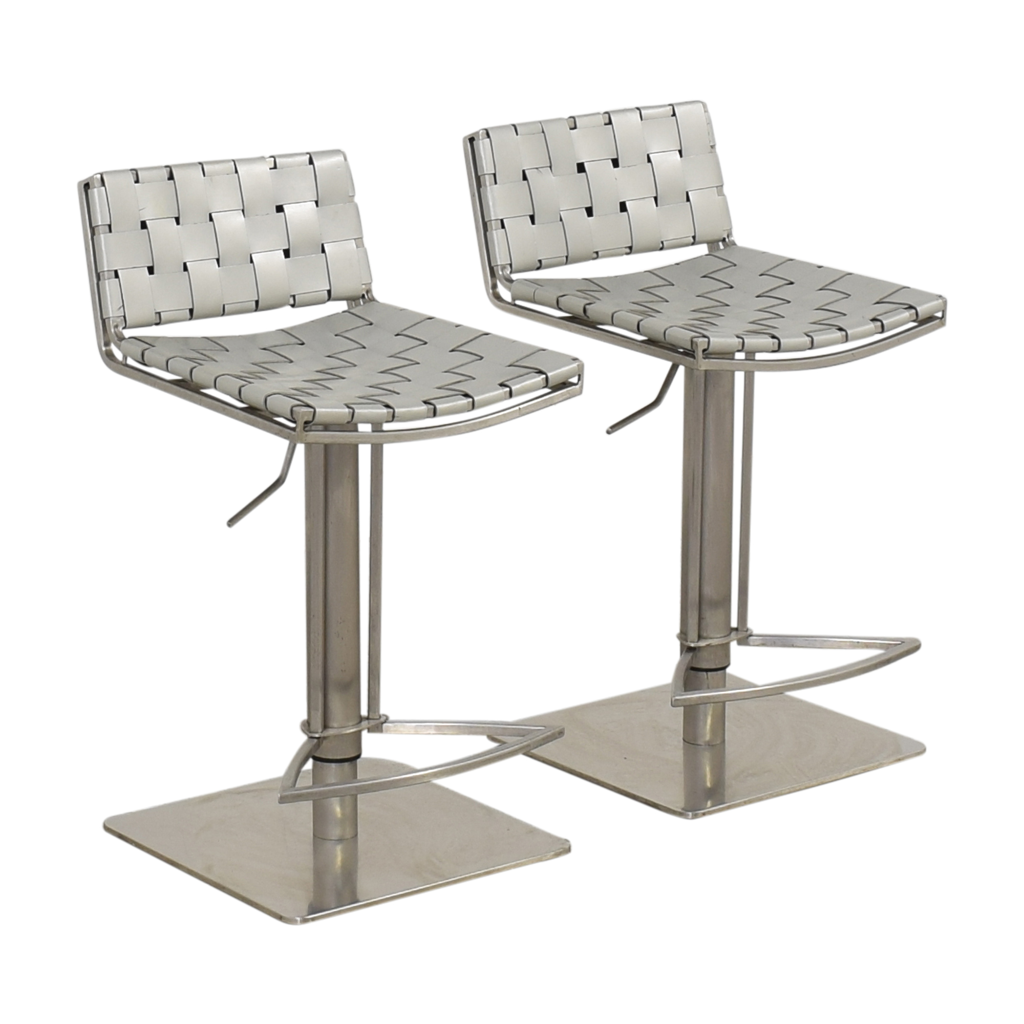 White and Chrome Woven Barstools on sale