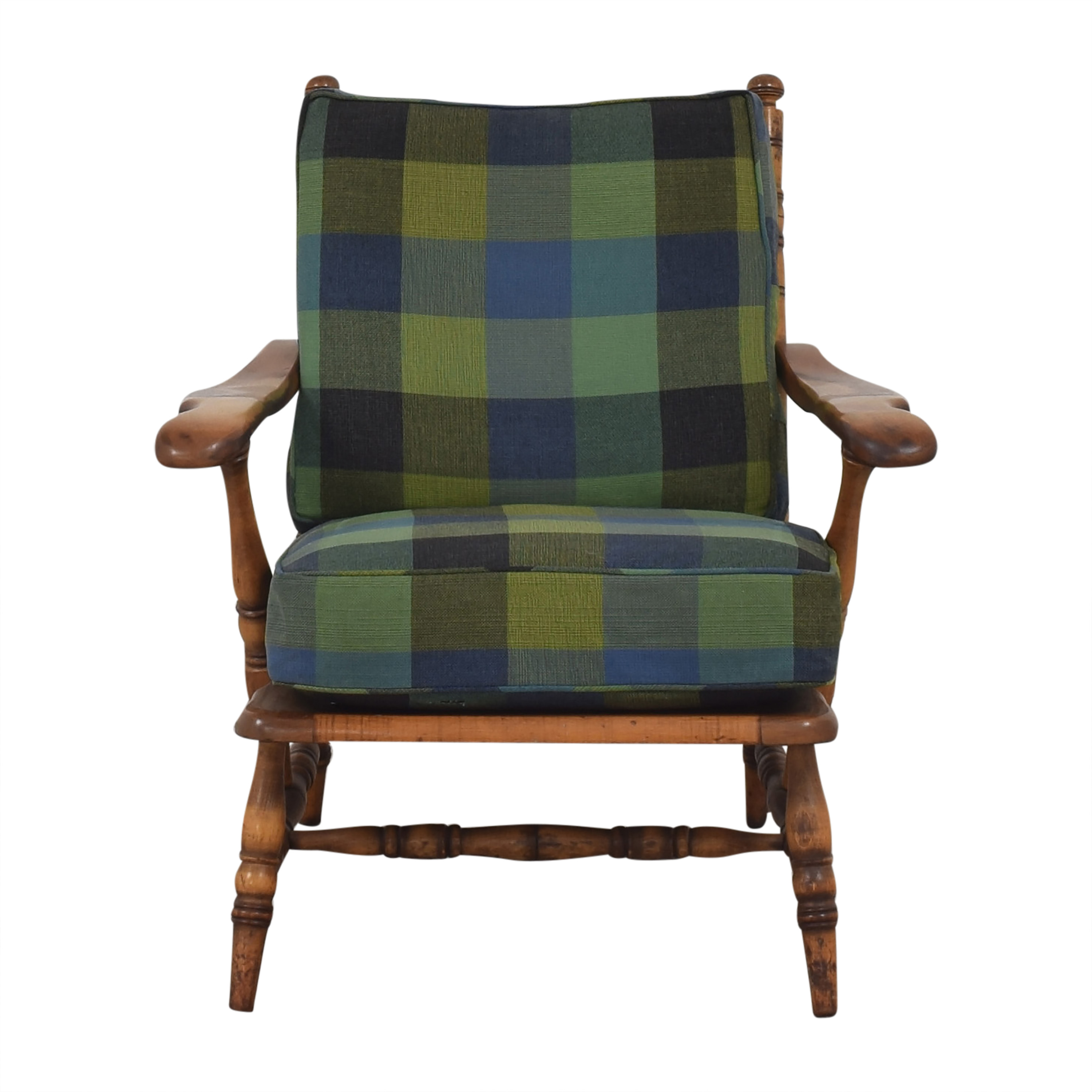 shop Plaid Cushion Easy Chair with Wood Frame  Chairs