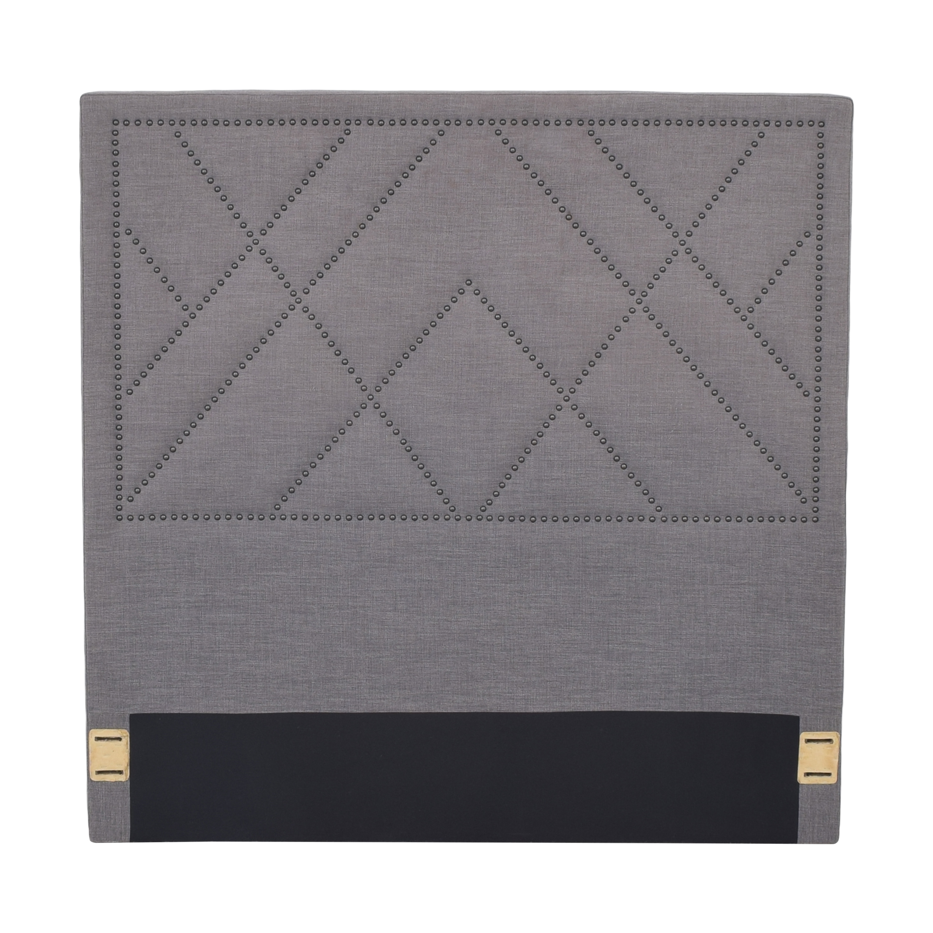 West Elm West Elm Grey Nailhead Patterned Full Headboard discount