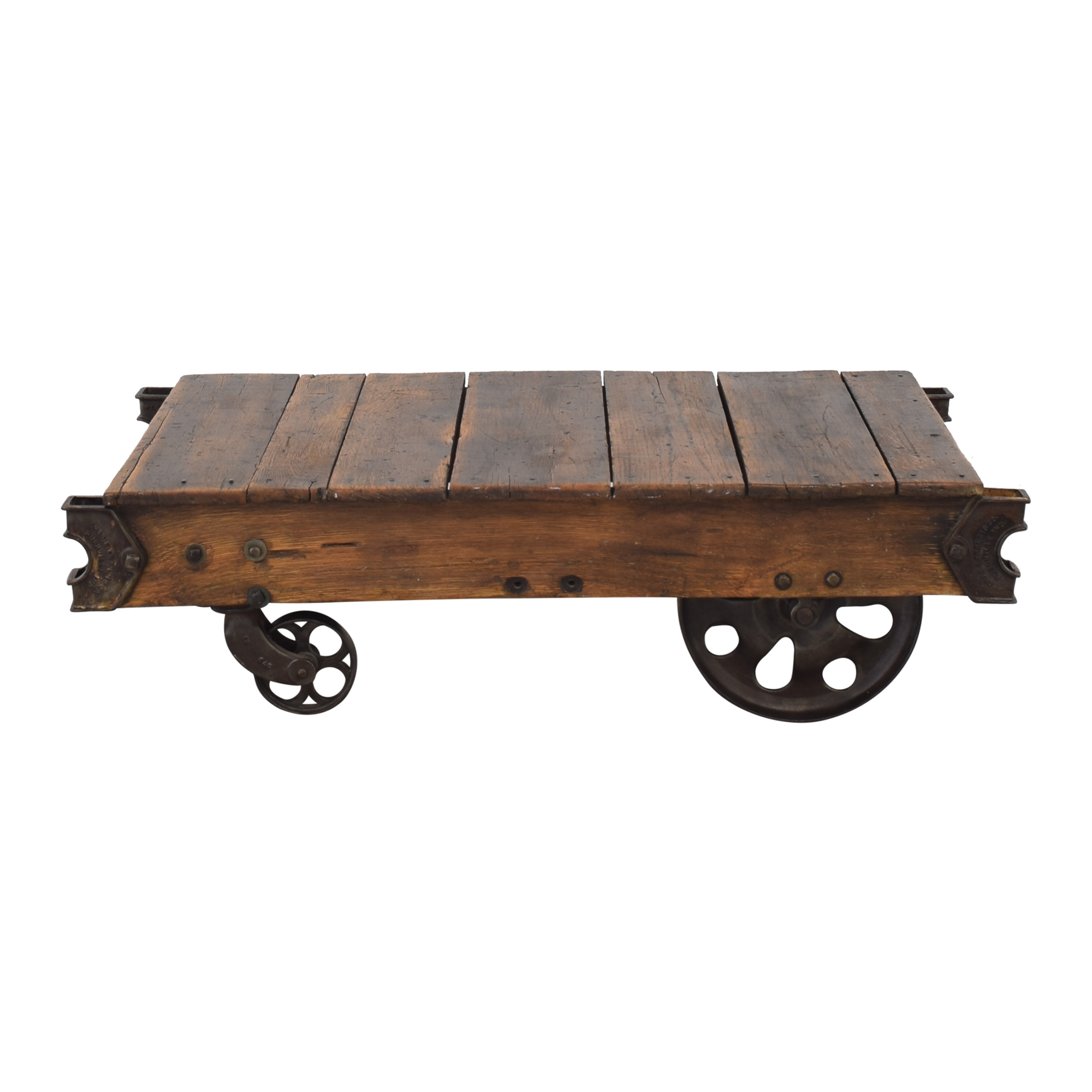 buy Industrial Wood Cart Coffee Table  Tables